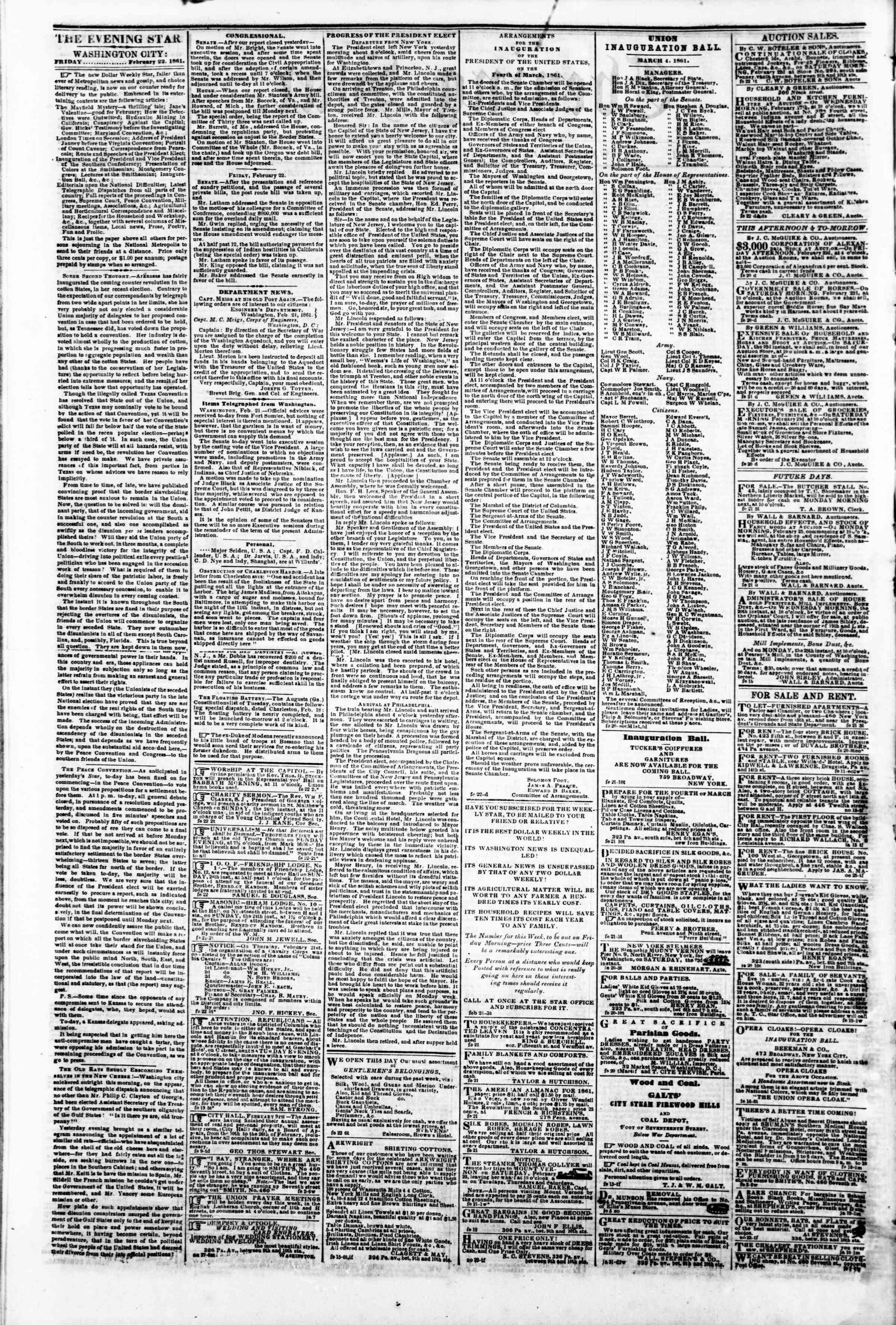 22 Şubat 1861 tarihli Evening Star Gazetesi Sayfa 2