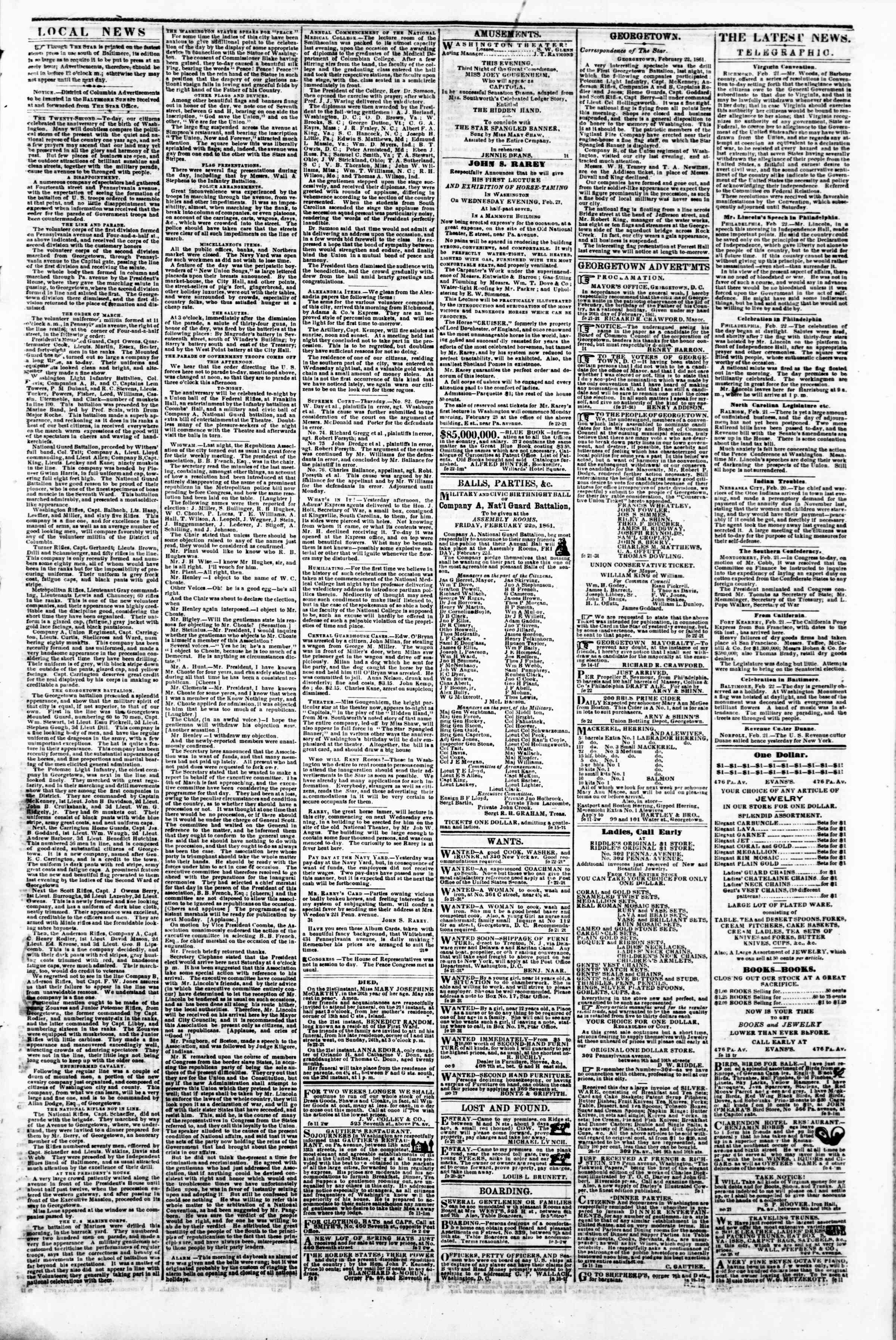 Newspaper of Evening Star dated February 22, 1861 Page 3