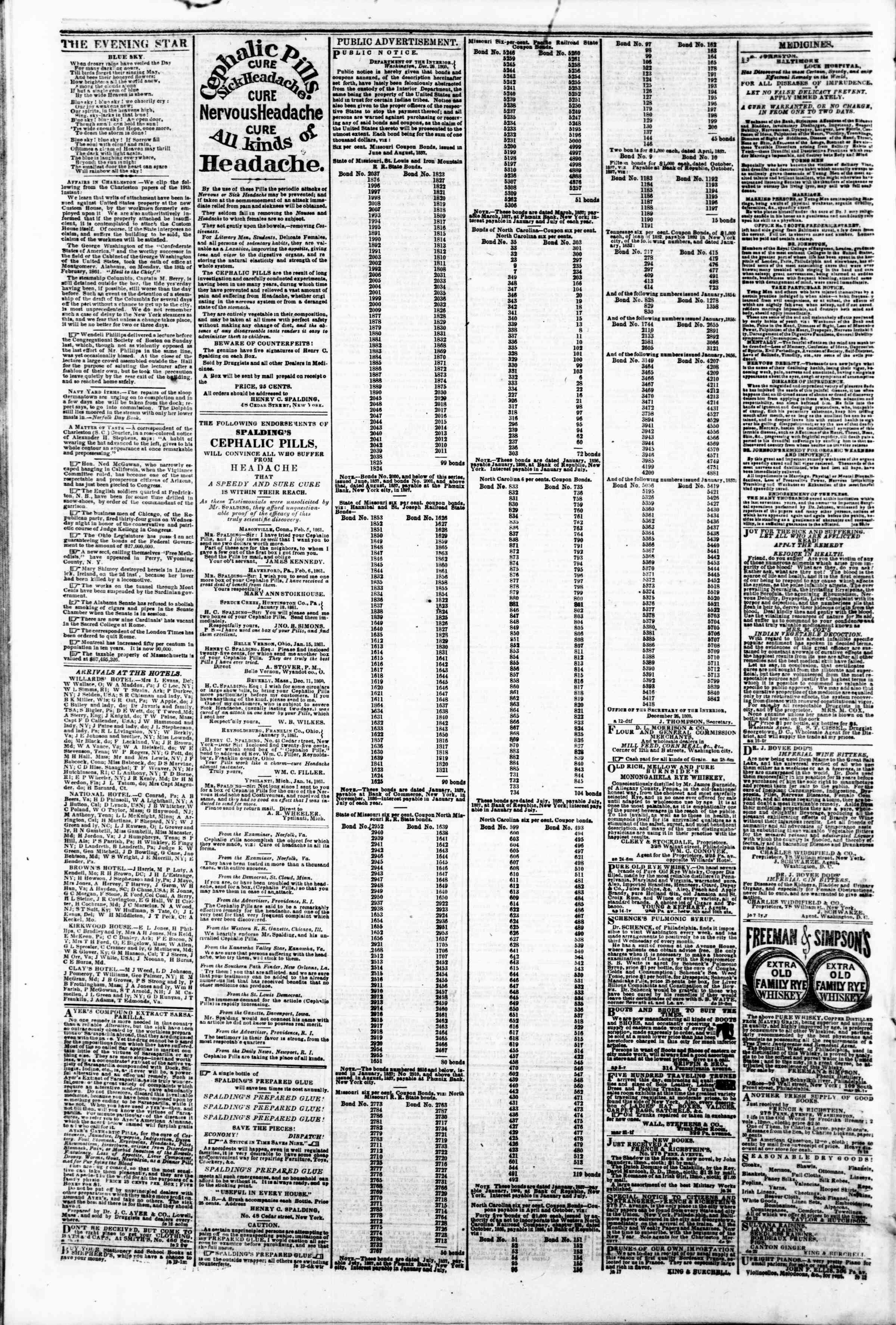 Newspaper of Evening Star dated February 22, 1861 Page 4