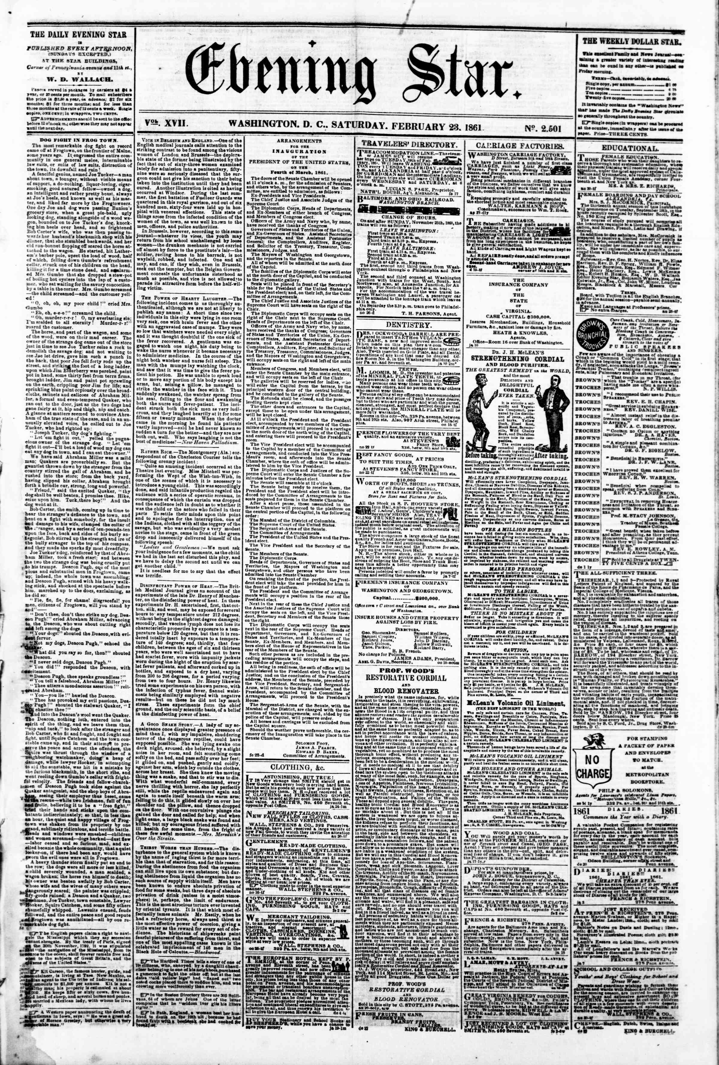 Newspaper of Evening Star dated February 23, 1861 Page 1