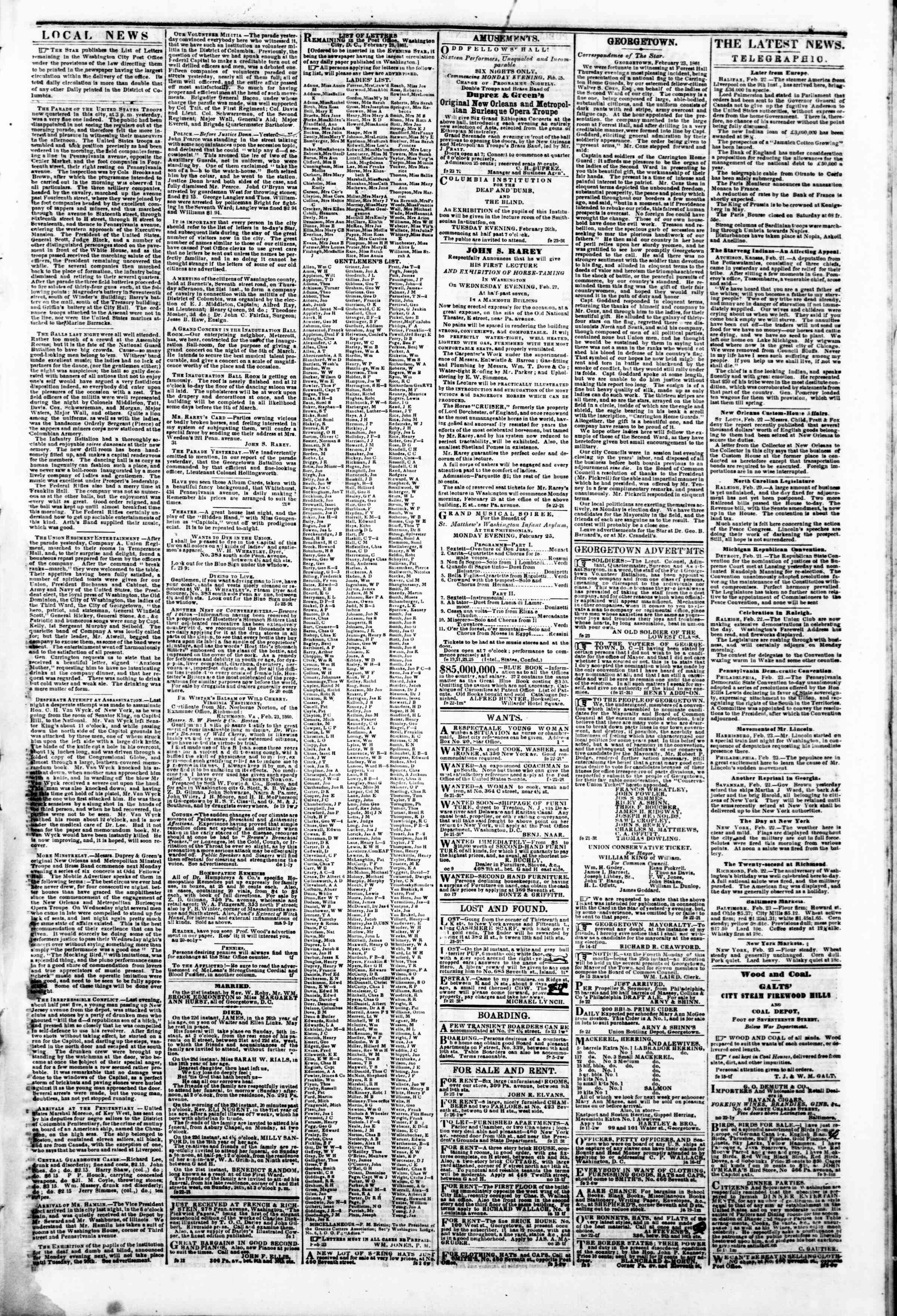 Newspaper of Evening Star dated February 23, 1861 Page 3