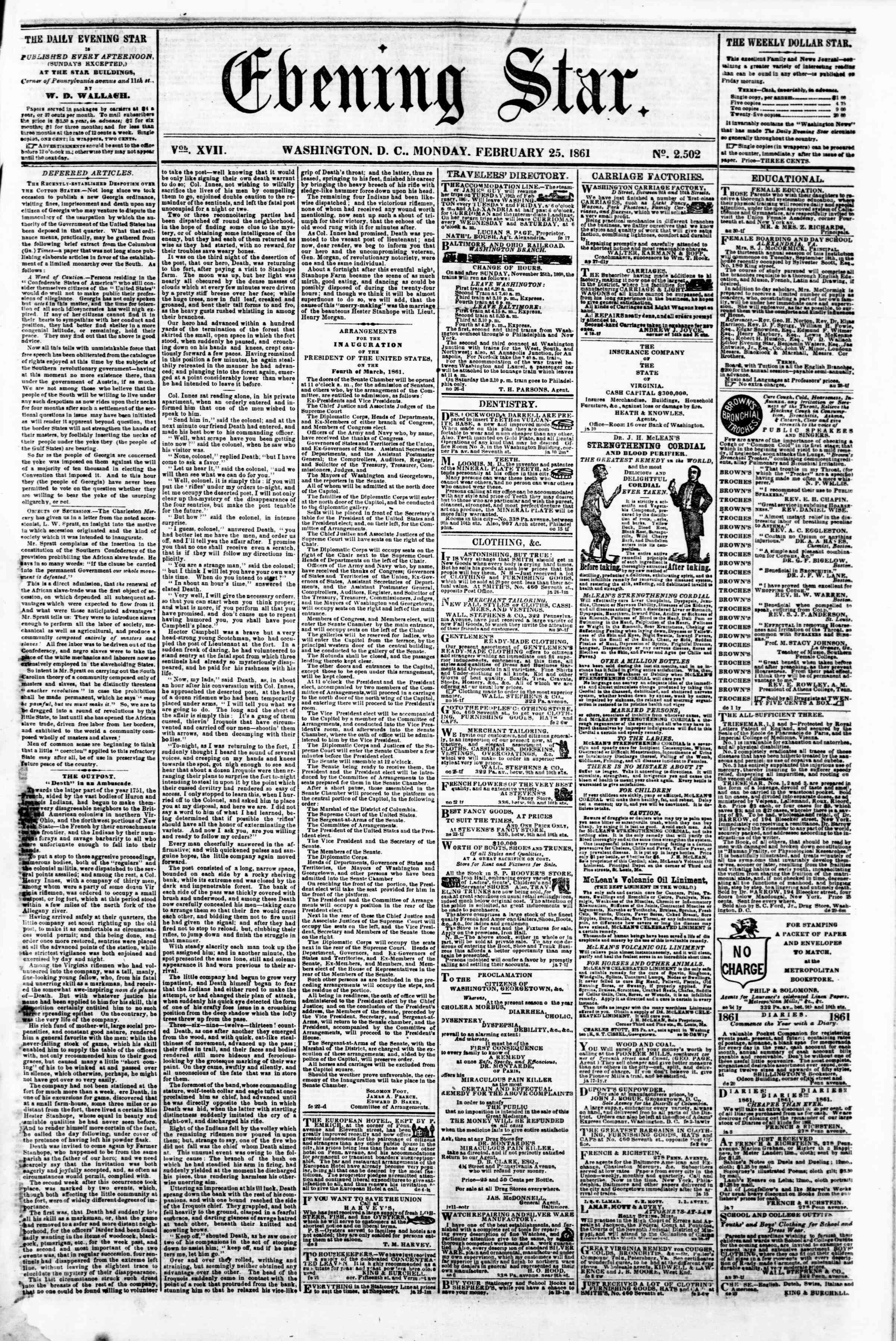 Newspaper of Evening Star dated February 25, 1861 Page 1