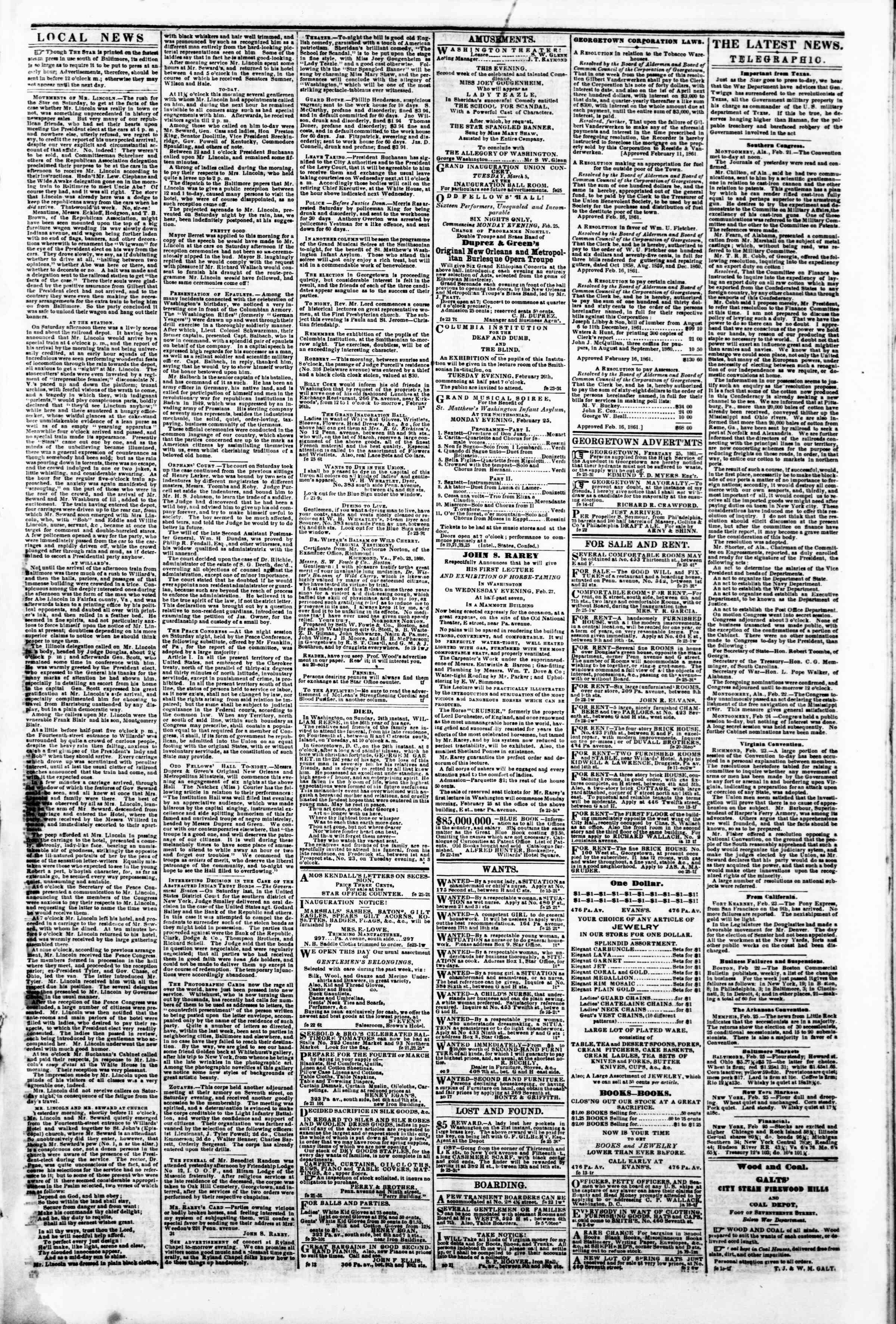 25 Şubat 1861 tarihli Evening Star Gazetesi Sayfa 3