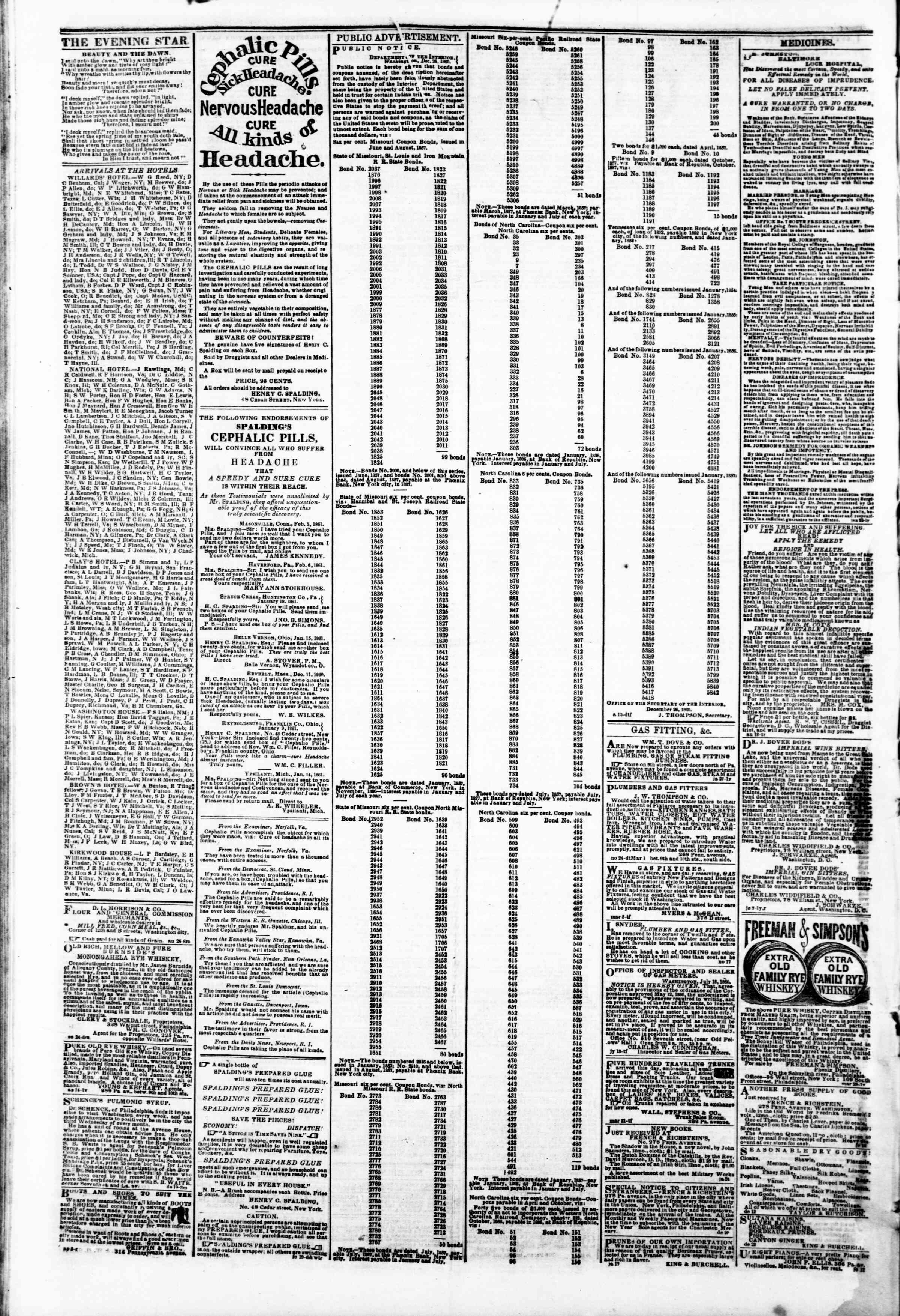 Newspaper of Evening Star dated February 25, 1861 Page 4