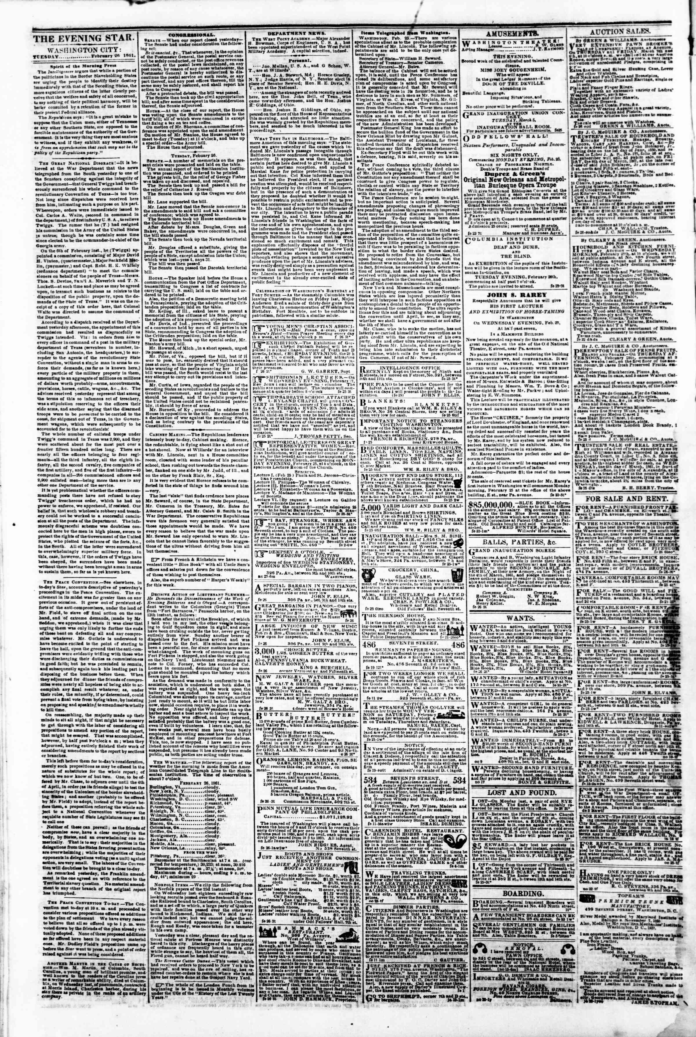 Newspaper of Evening Star dated February 26, 1861 Page 2