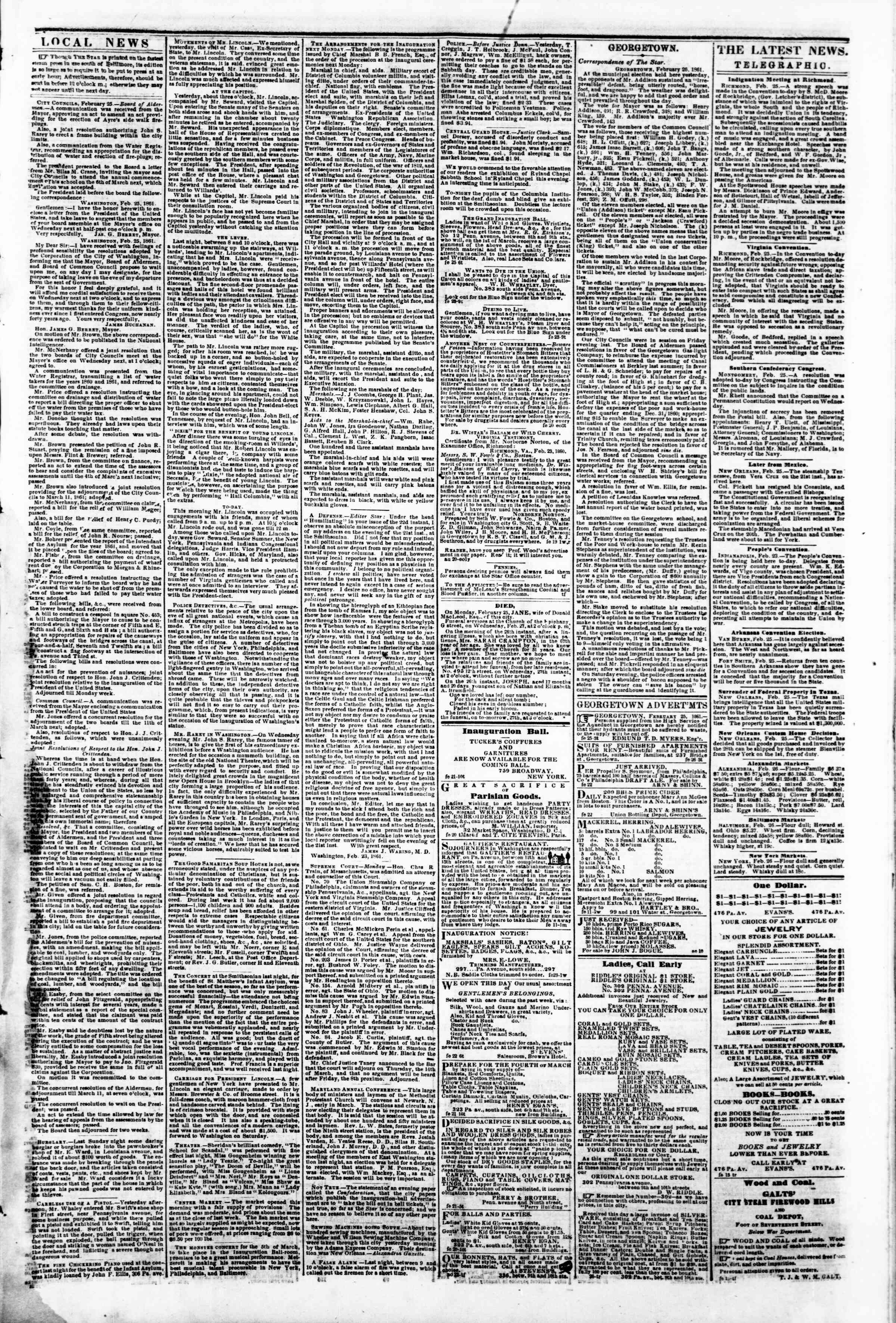 Newspaper of Evening Star dated February 26, 1861 Page 3
