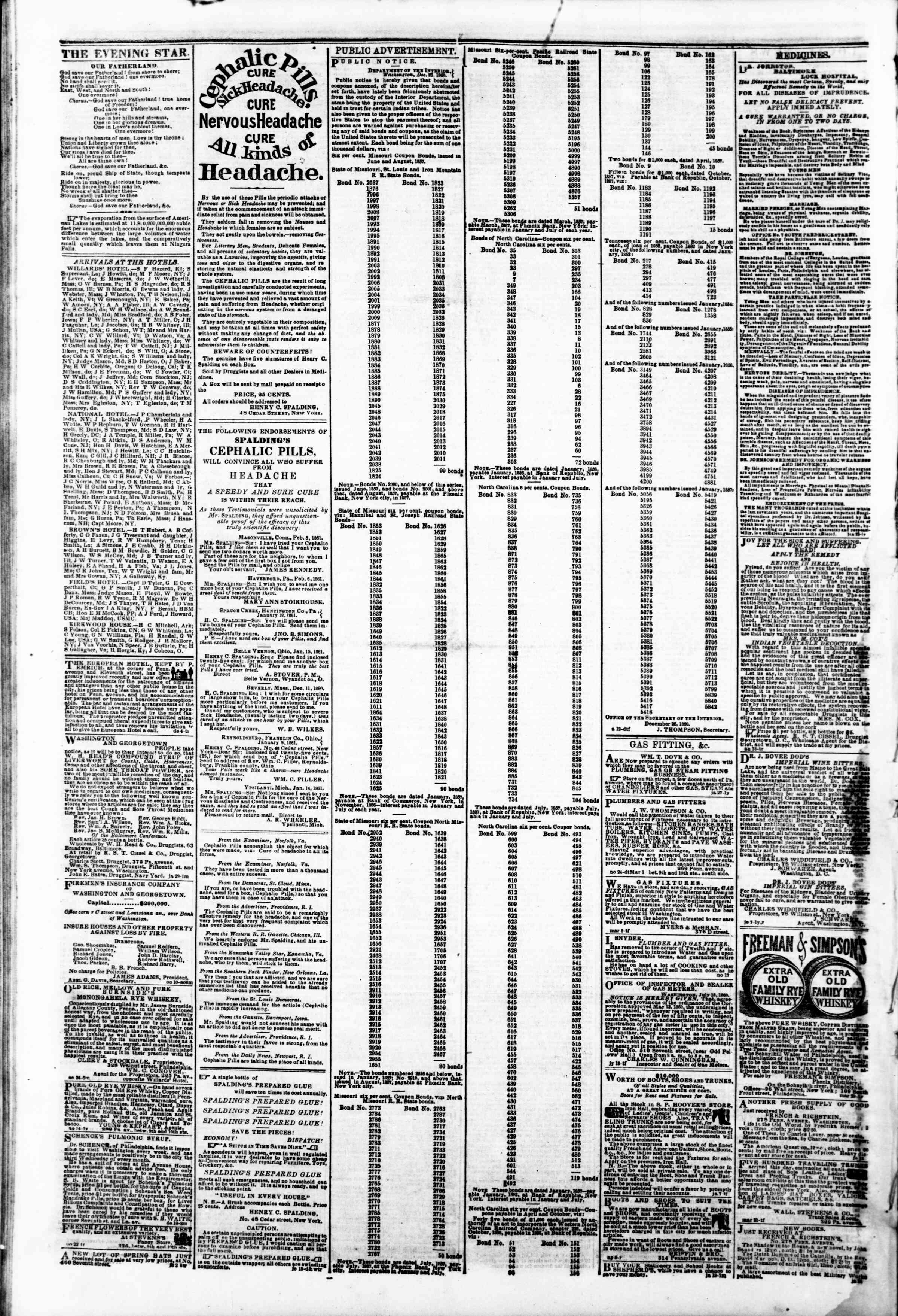 Newspaper of Evening Star dated February 26, 1861 Page 4