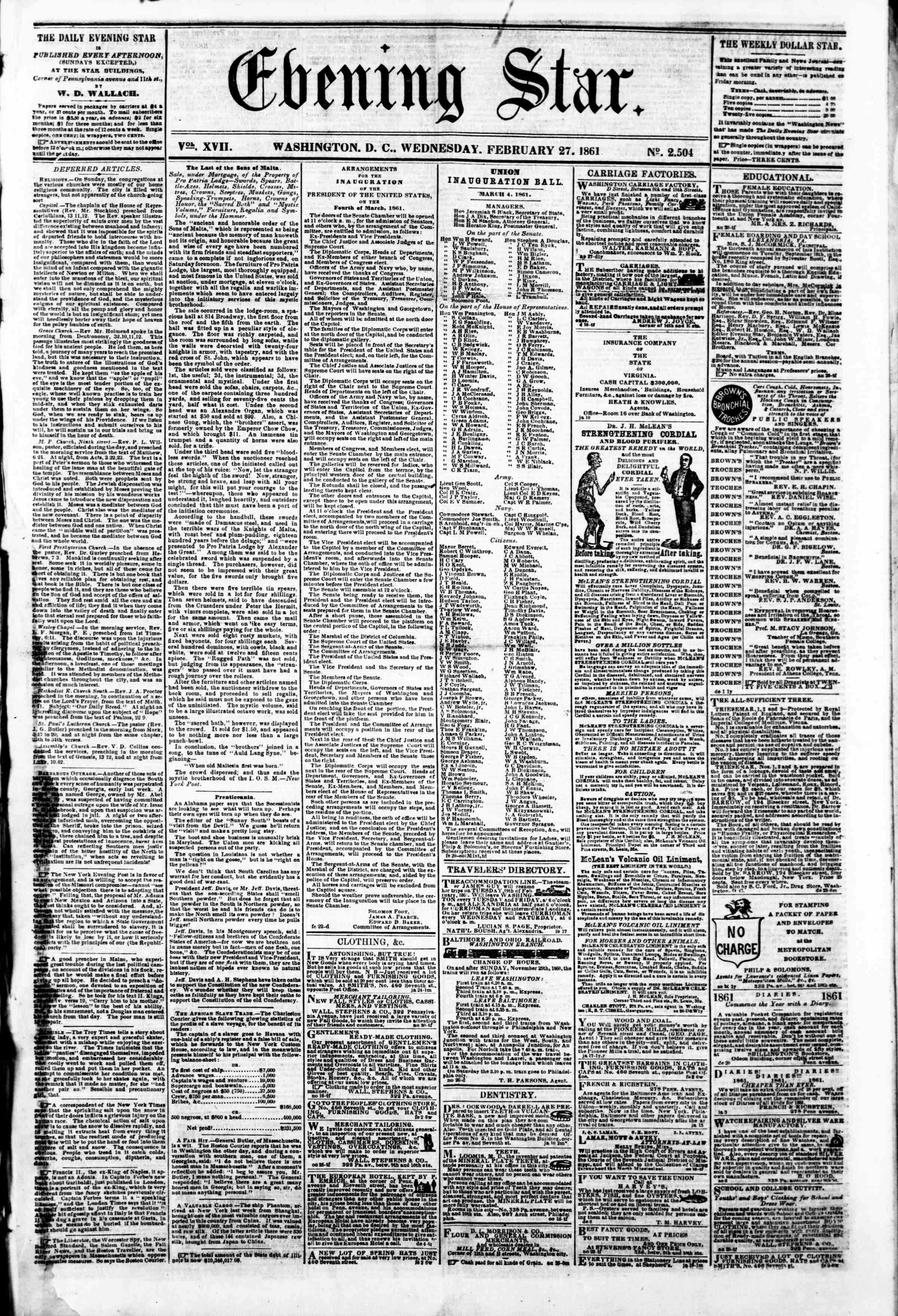 Newspaper of Evening Star dated February 27, 1861 Page 1
