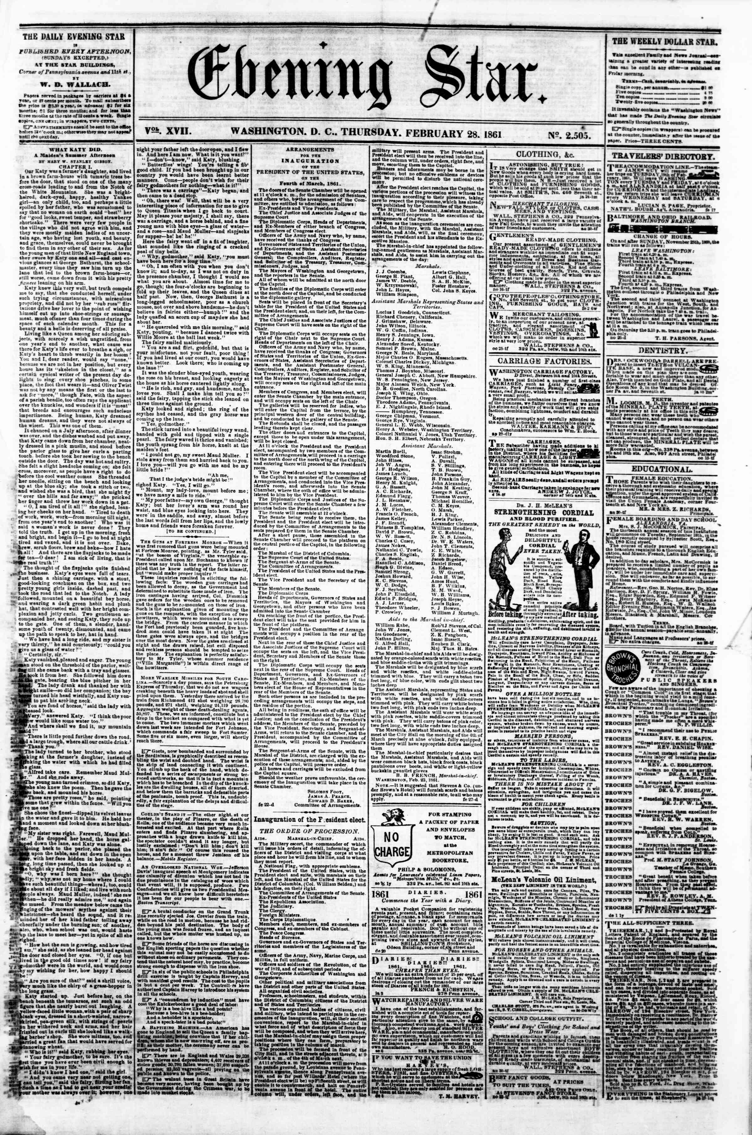 Newspaper of Evening Star dated February 28, 1861 Page 1