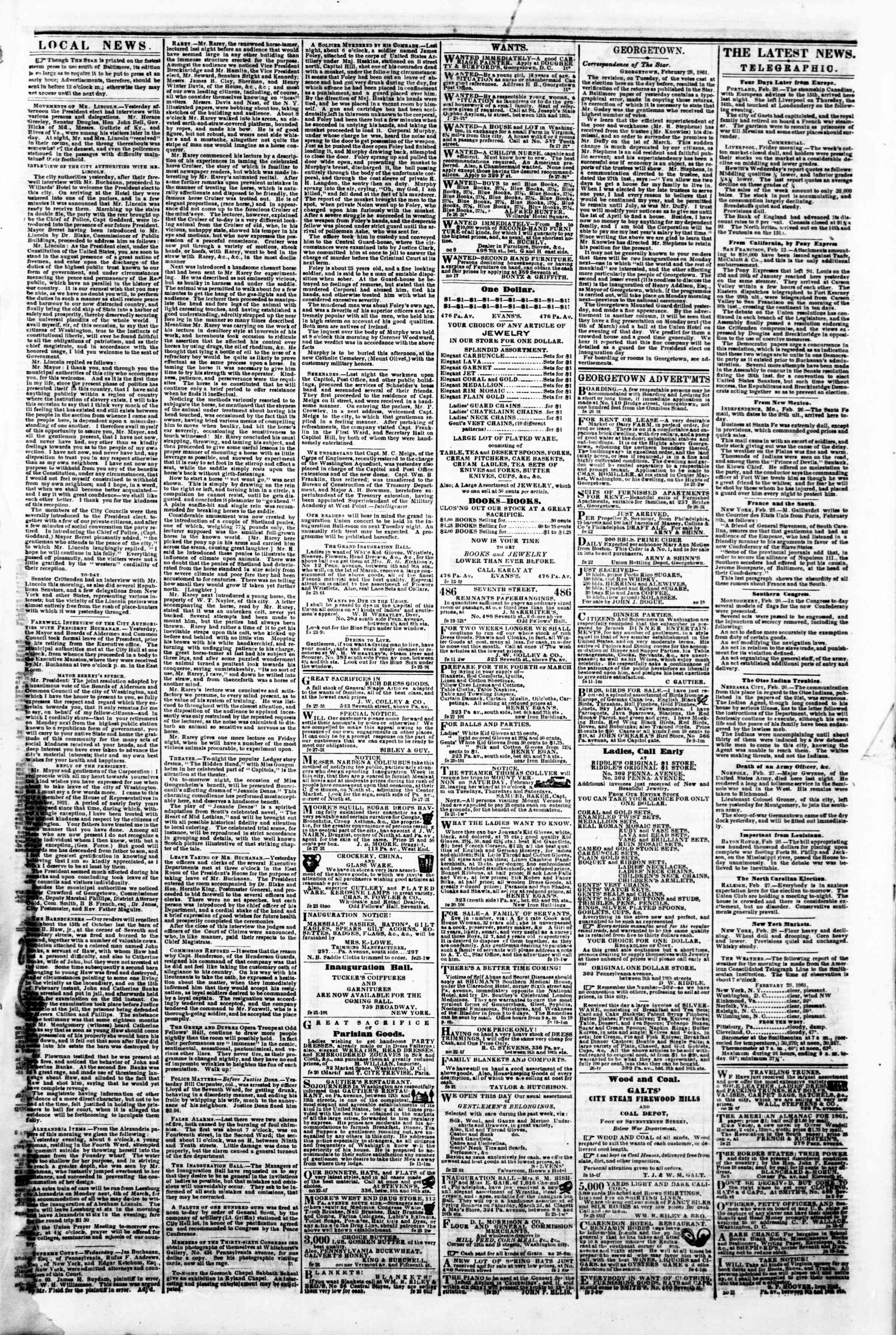 Newspaper of Evening Star dated February 28, 1861 Page 3