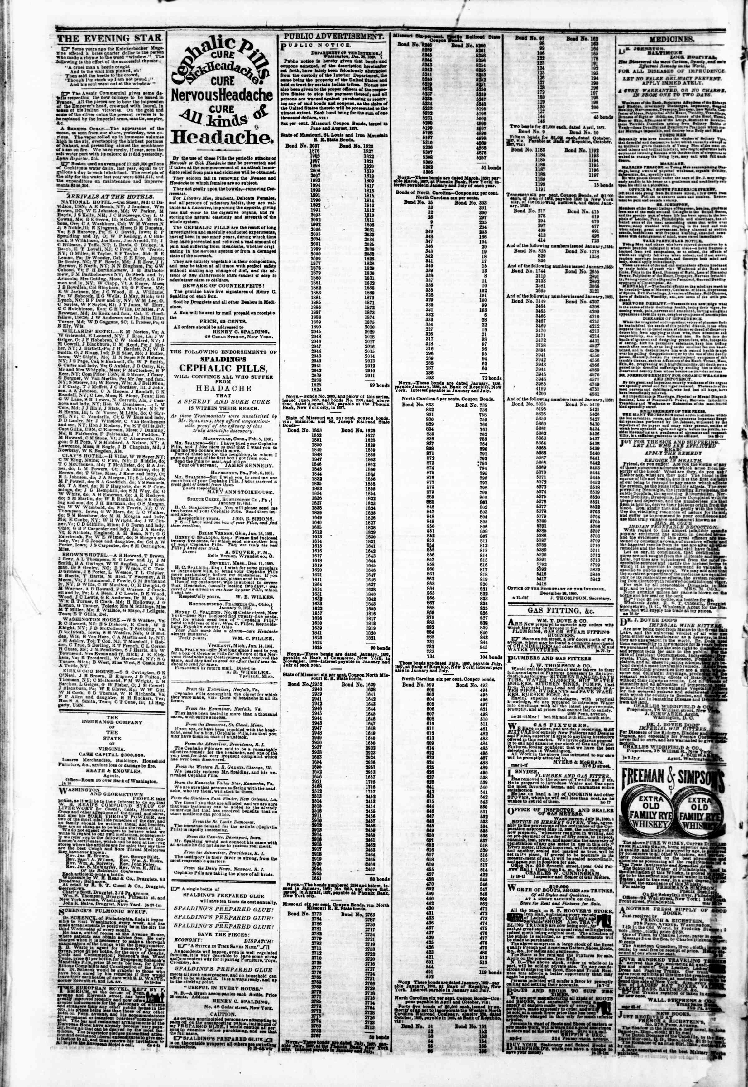 Newspaper of Evening Star dated February 28, 1861 Page 4