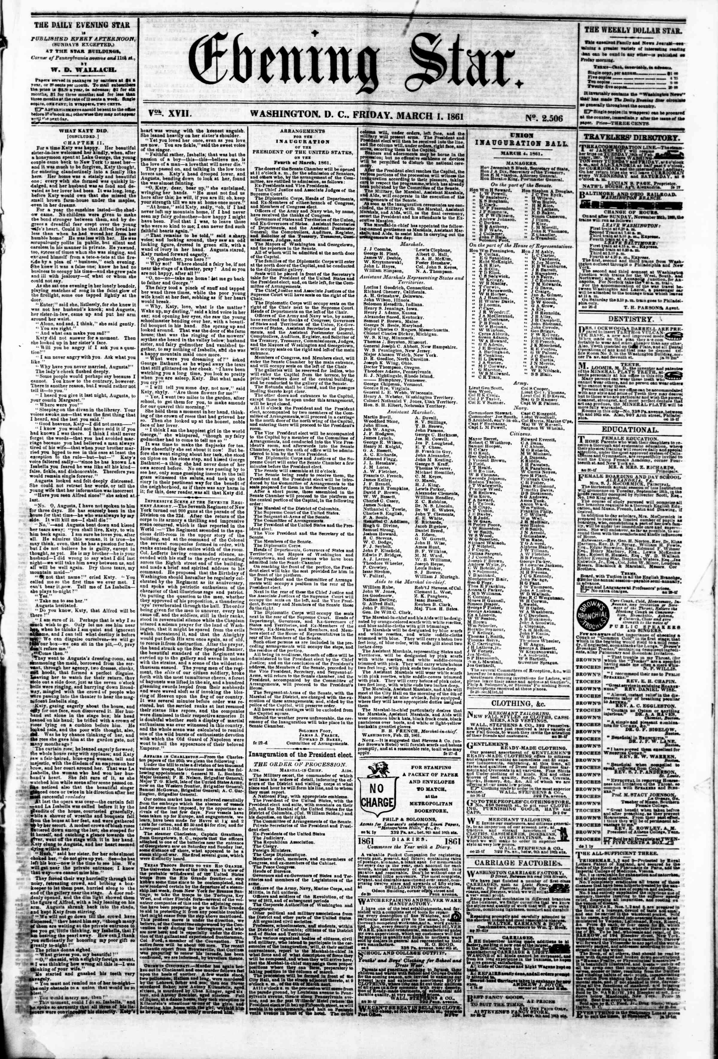 Newspaper of Evening Star dated 1 Mart 1861 Page 1