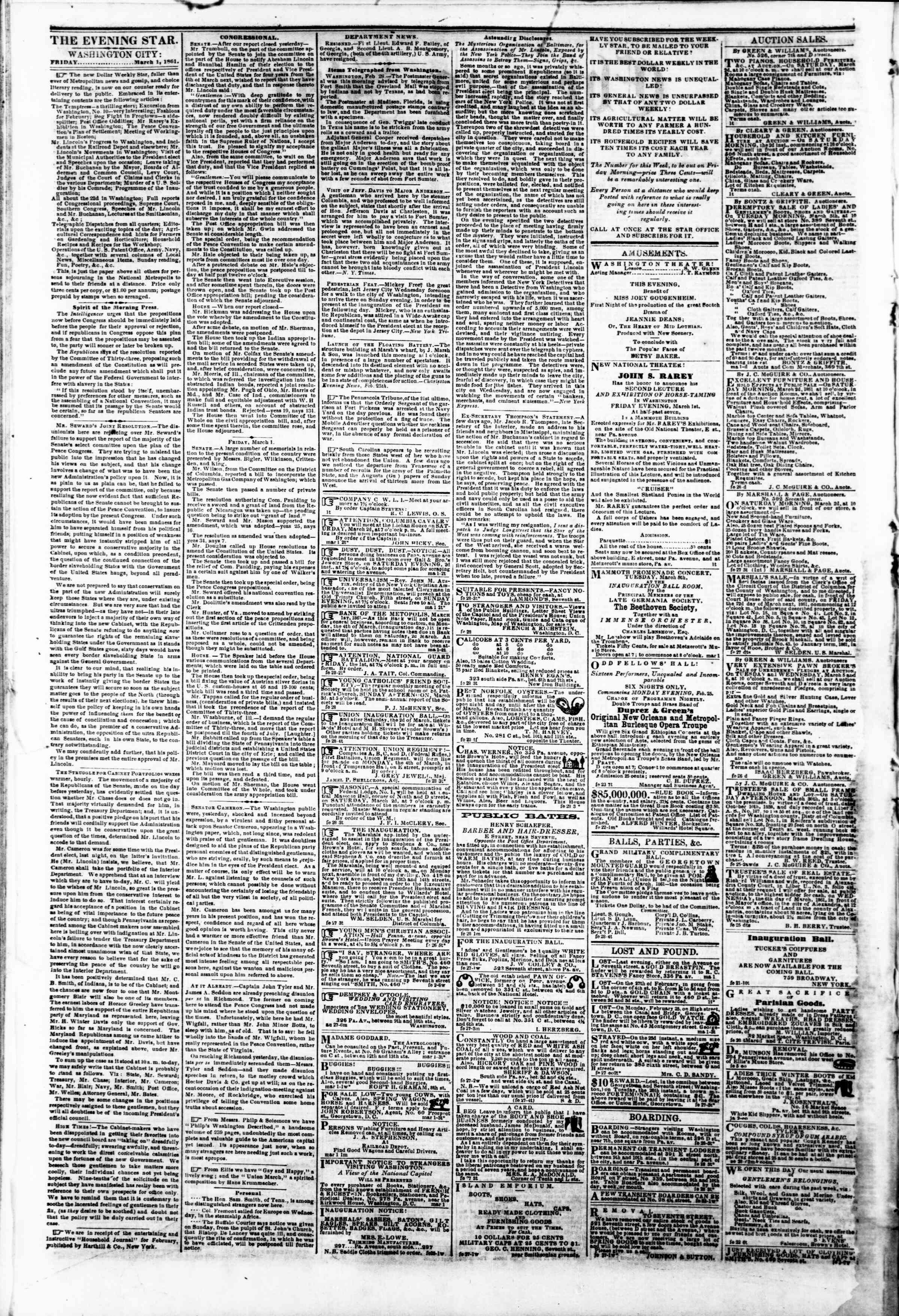 Newspaper of Evening Star dated March 1, 1861 Page 2