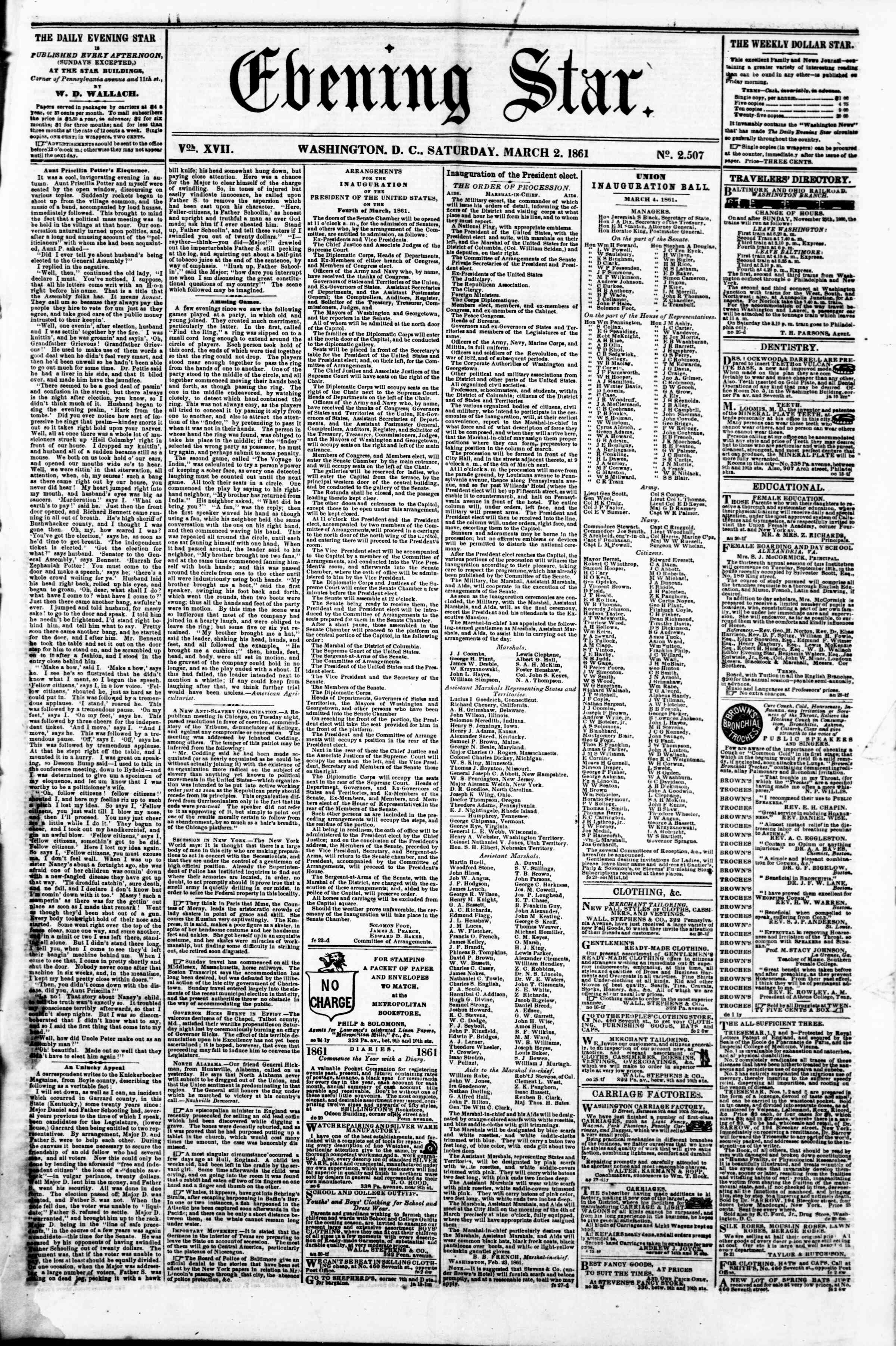 Newspaper of Evening Star dated March 2, 1861 Page 1
