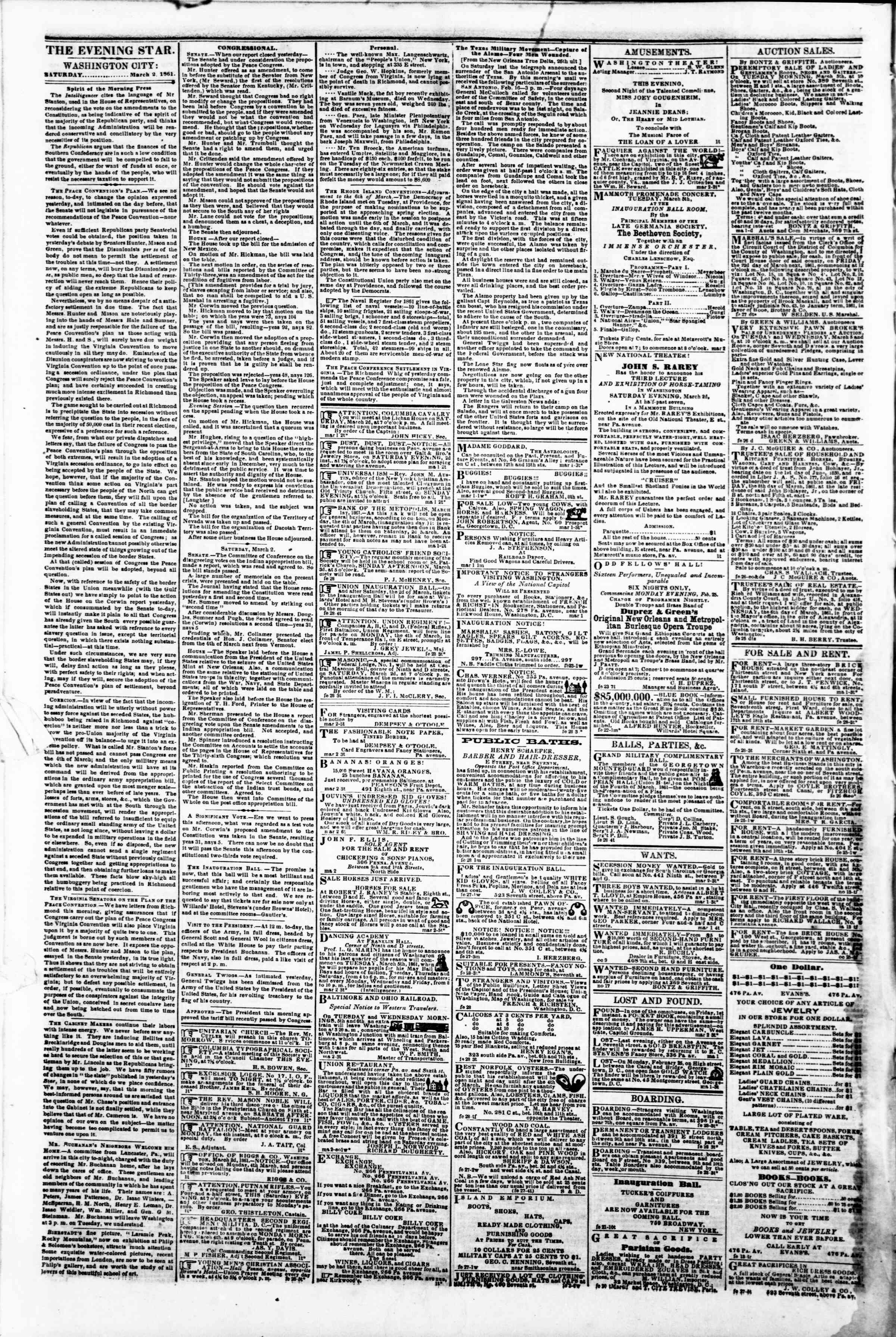 Newspaper of Evening Star dated March 2, 1861 Page 2