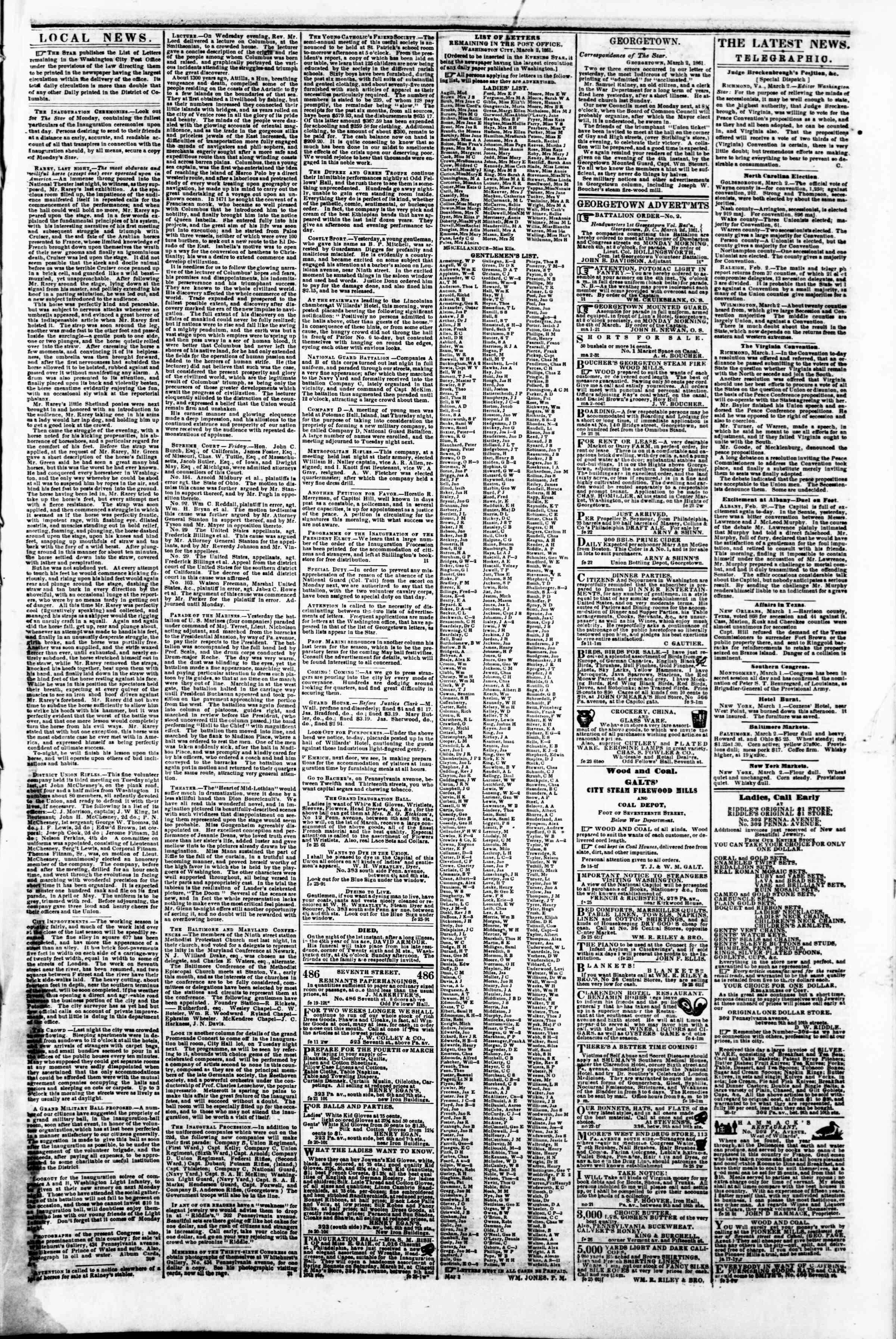 Newspaper of Evening Star dated March 2, 1861 Page 3