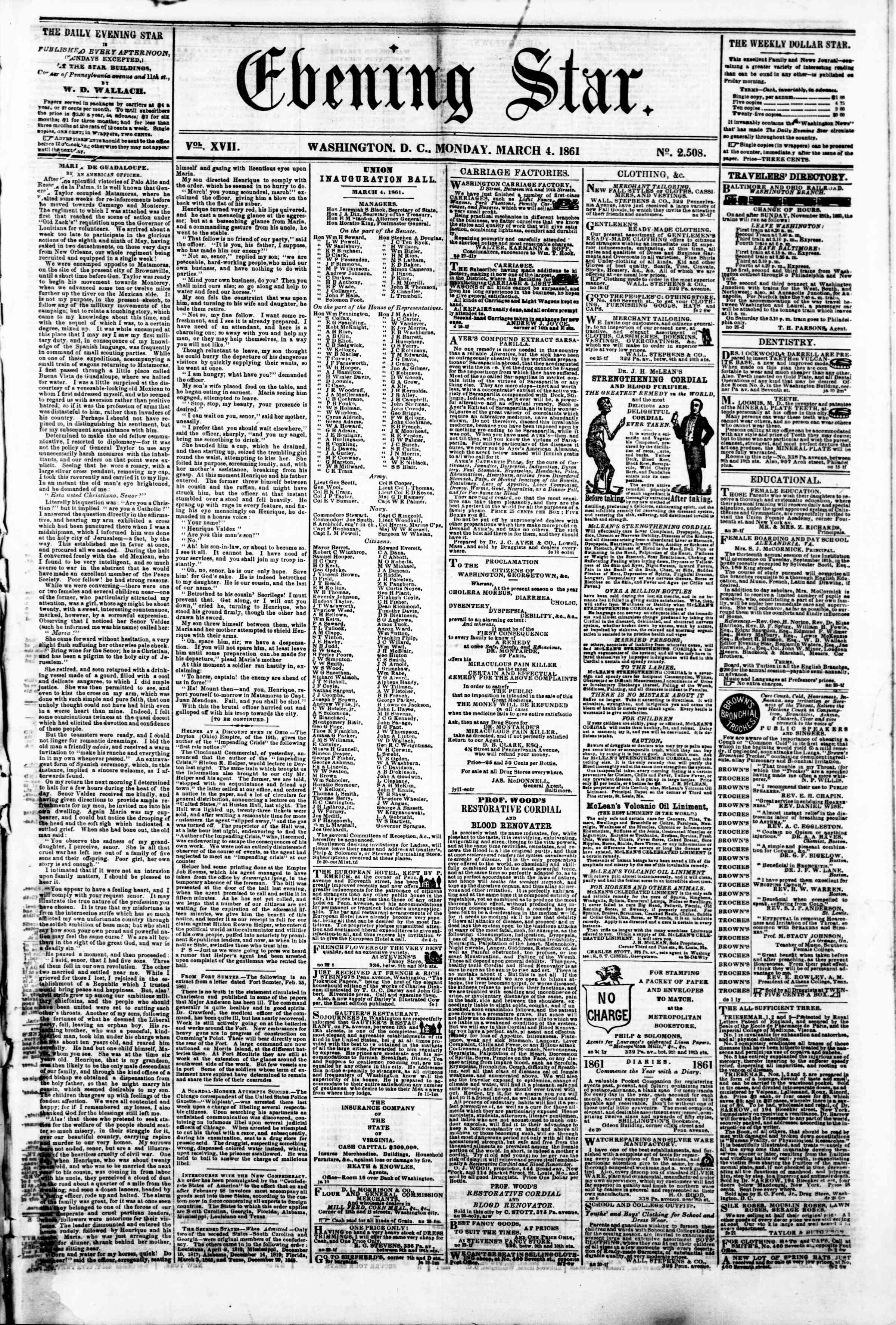 Newspaper of Evening Star dated March 4, 1861 Page 1
