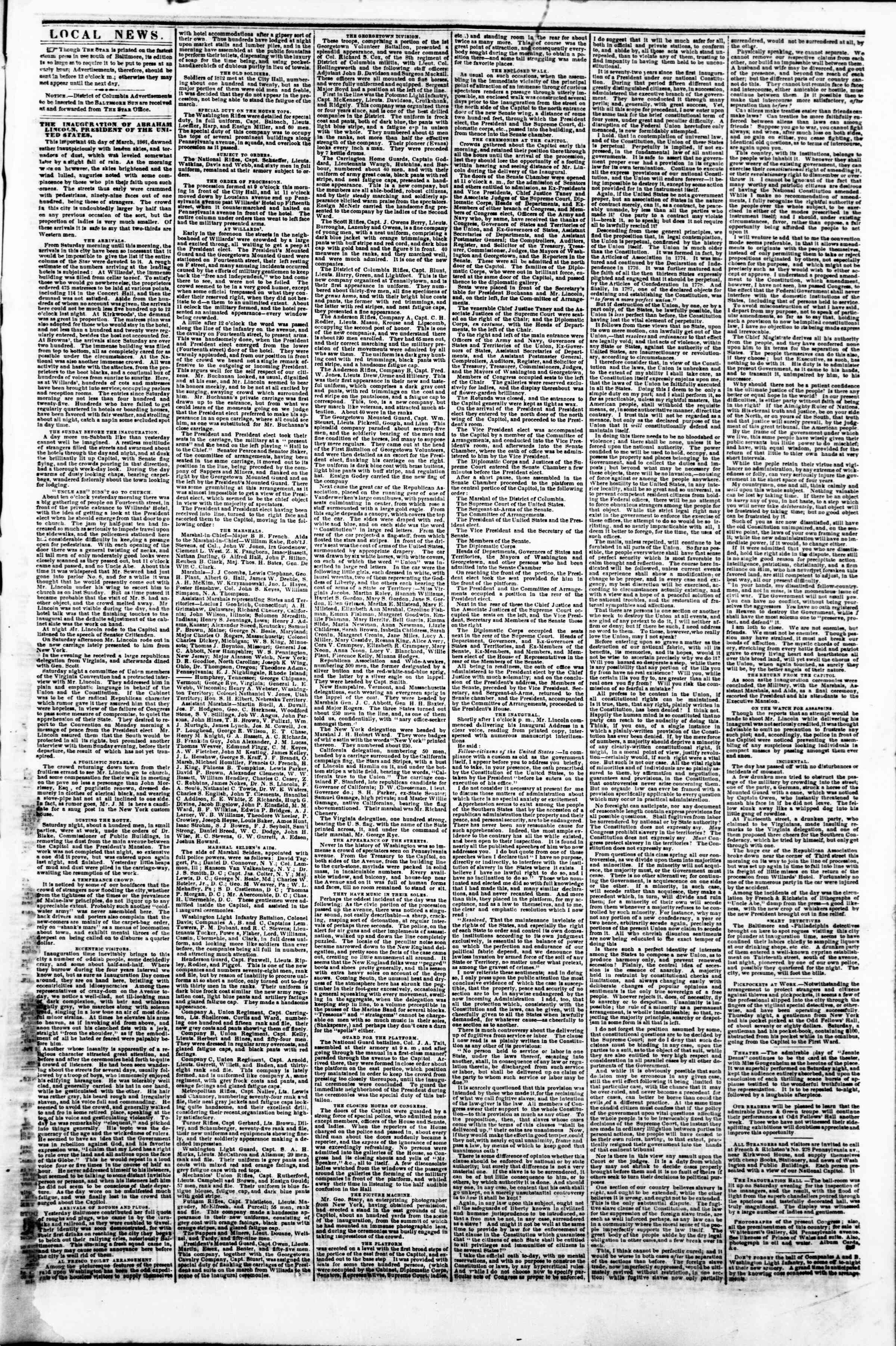 Newspaper of Evening Star dated March 4, 1861 Page 3