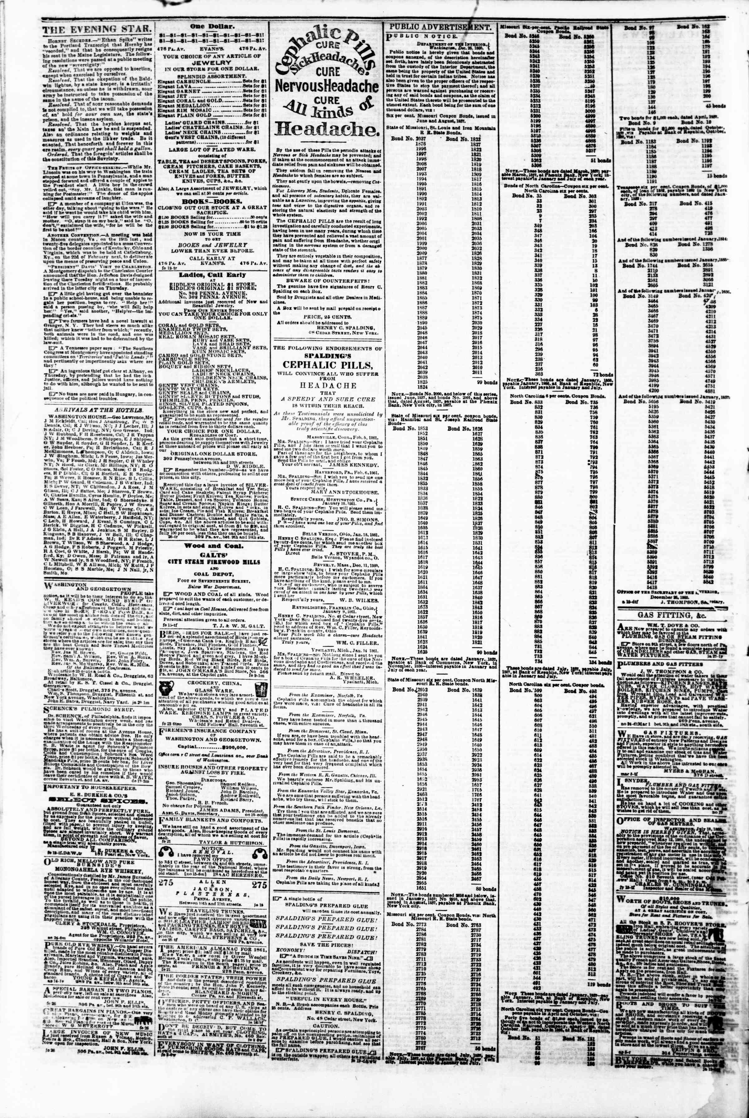 Newspaper of Evening Star dated March 4, 1861 Page 4
