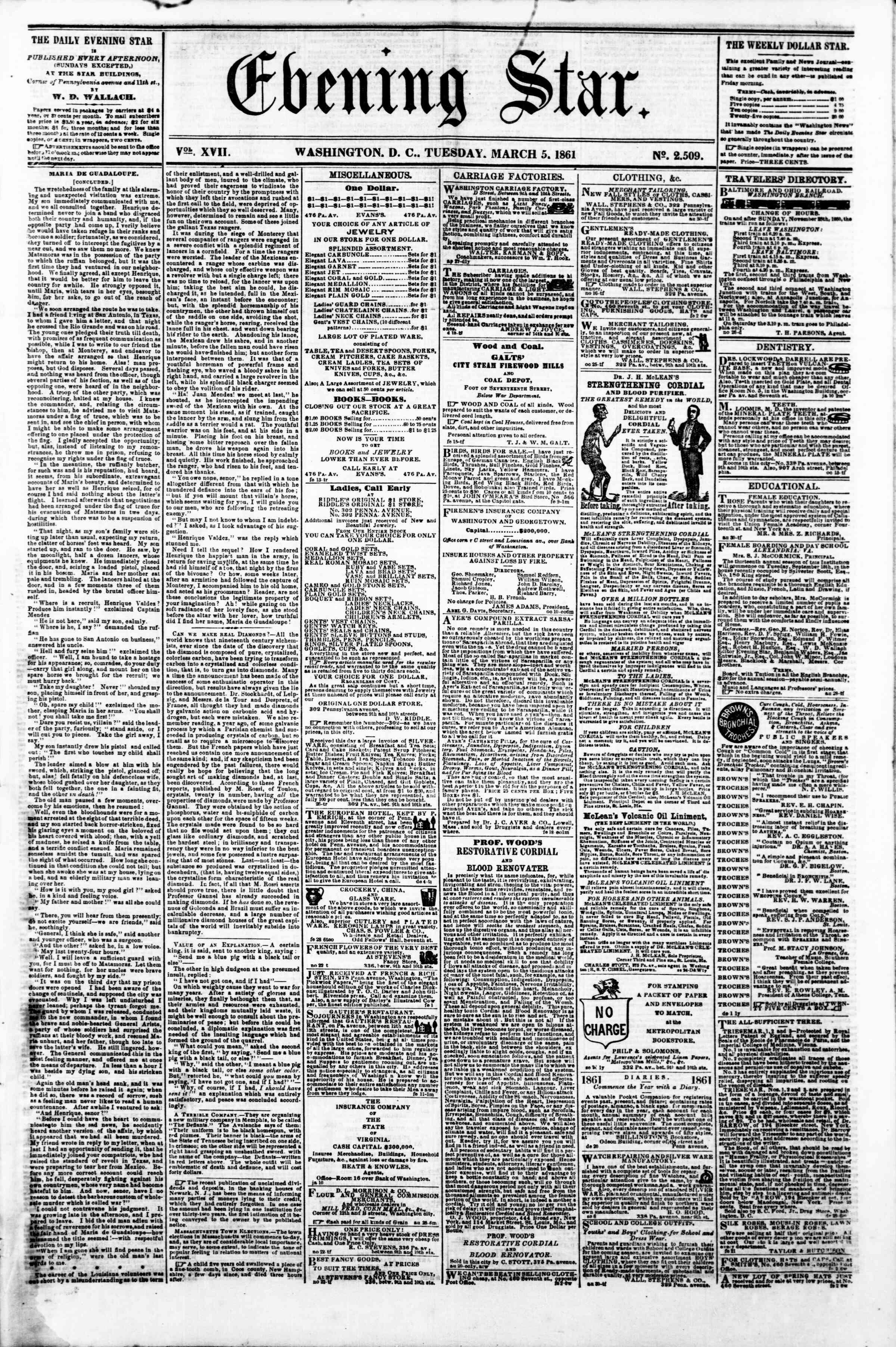 Newspaper of Evening Star dated March 5, 1861 Page 1