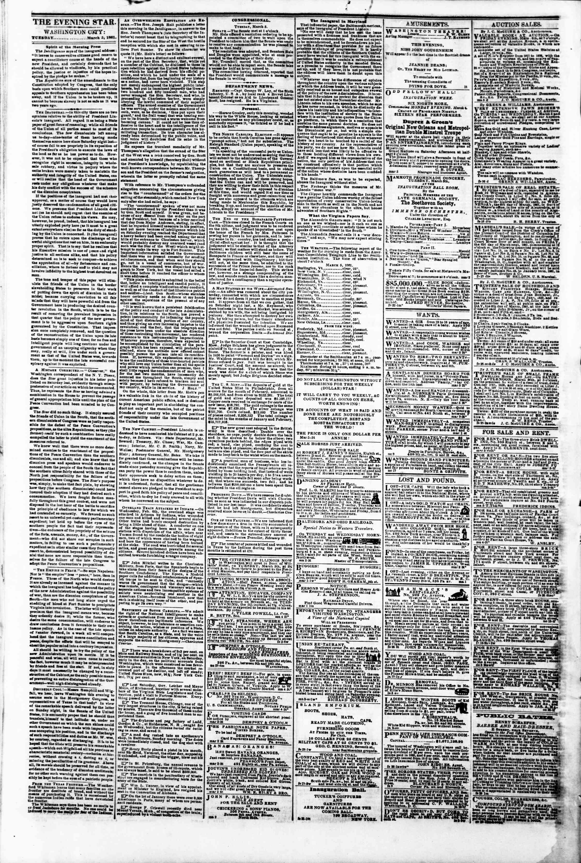 Newspaper of Evening Star dated March 5, 1861 Page 2