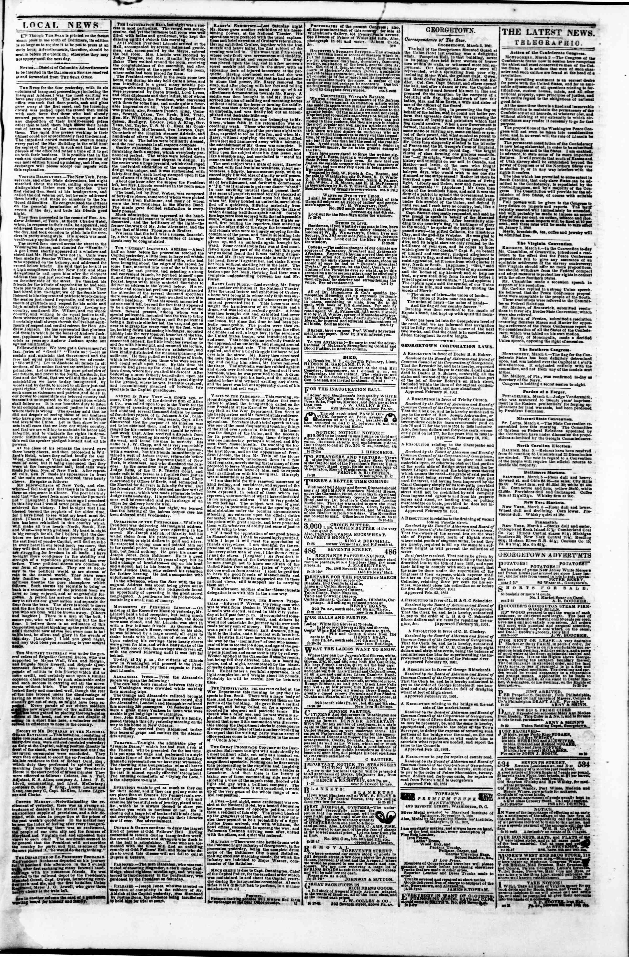 5 Mart 1861 tarihli Evening Star Gazetesi Sayfa 3