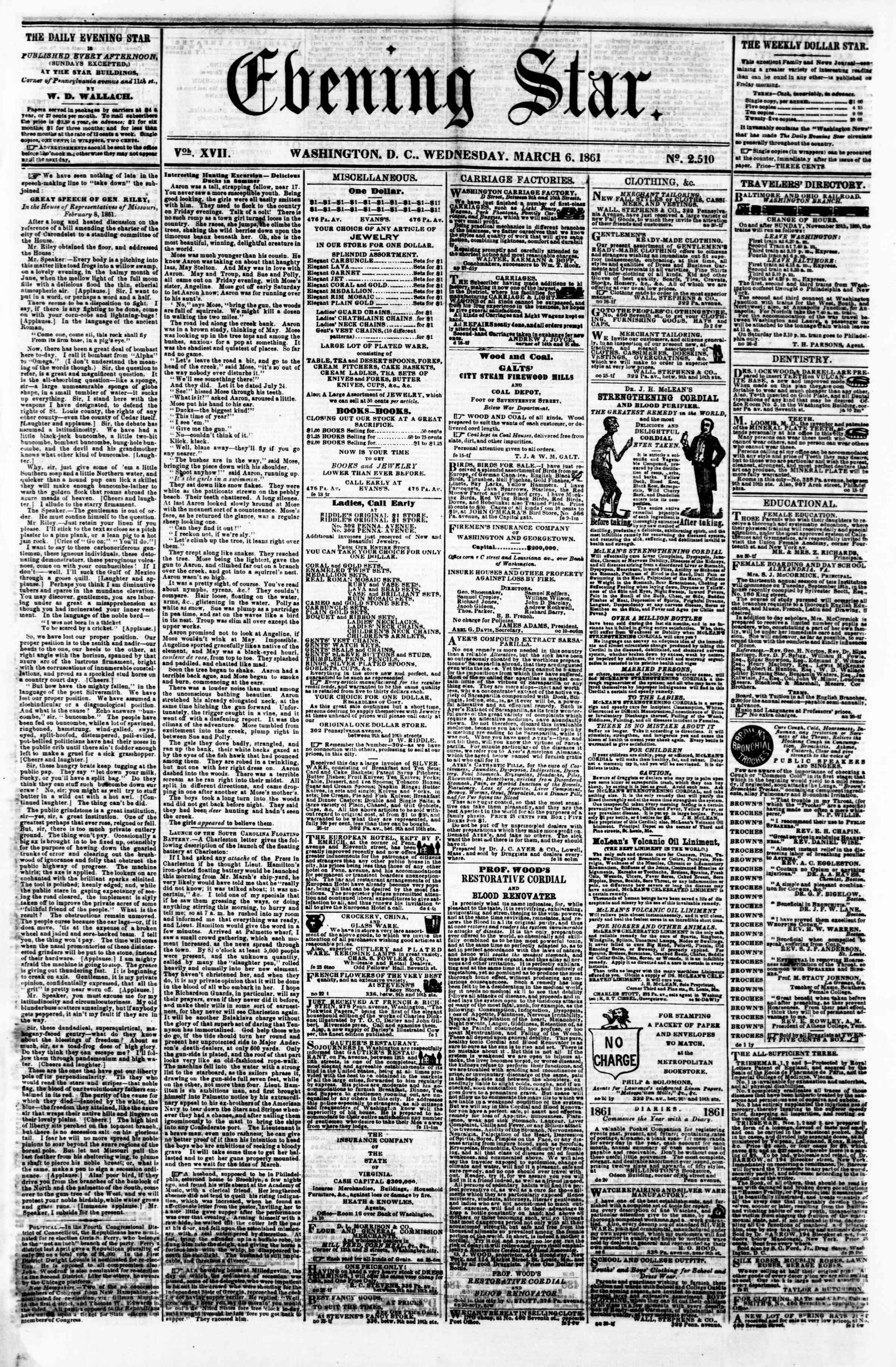 Newspaper of Evening Star dated March 6, 1861 Page 1