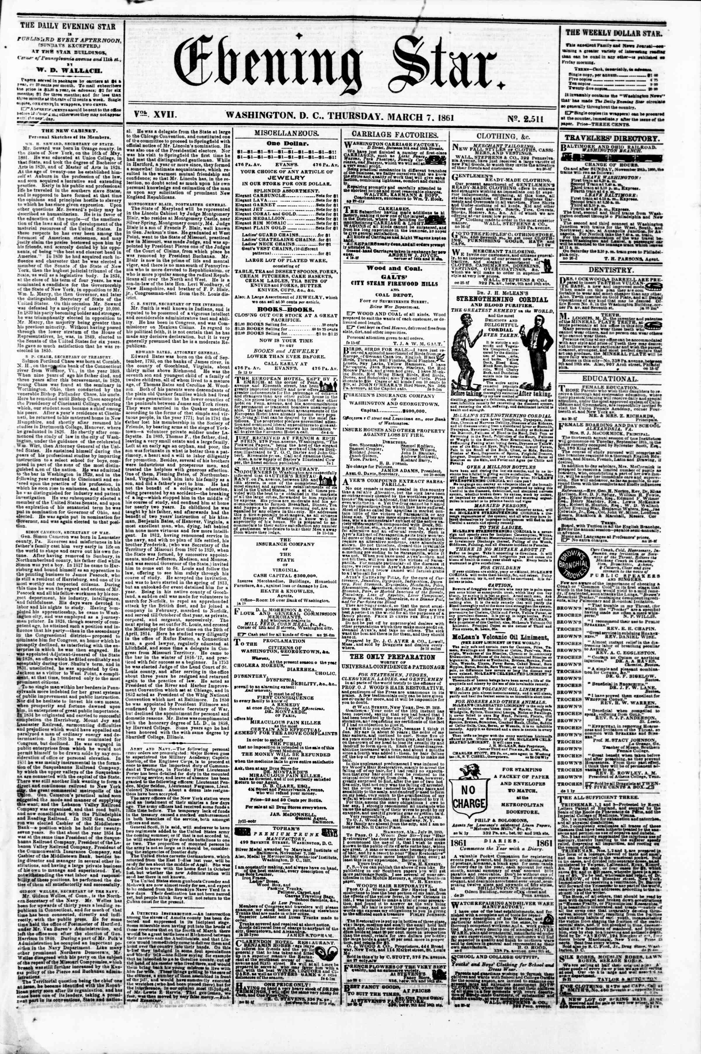 Newspaper of Evening Star dated March 7, 1861 Page 1