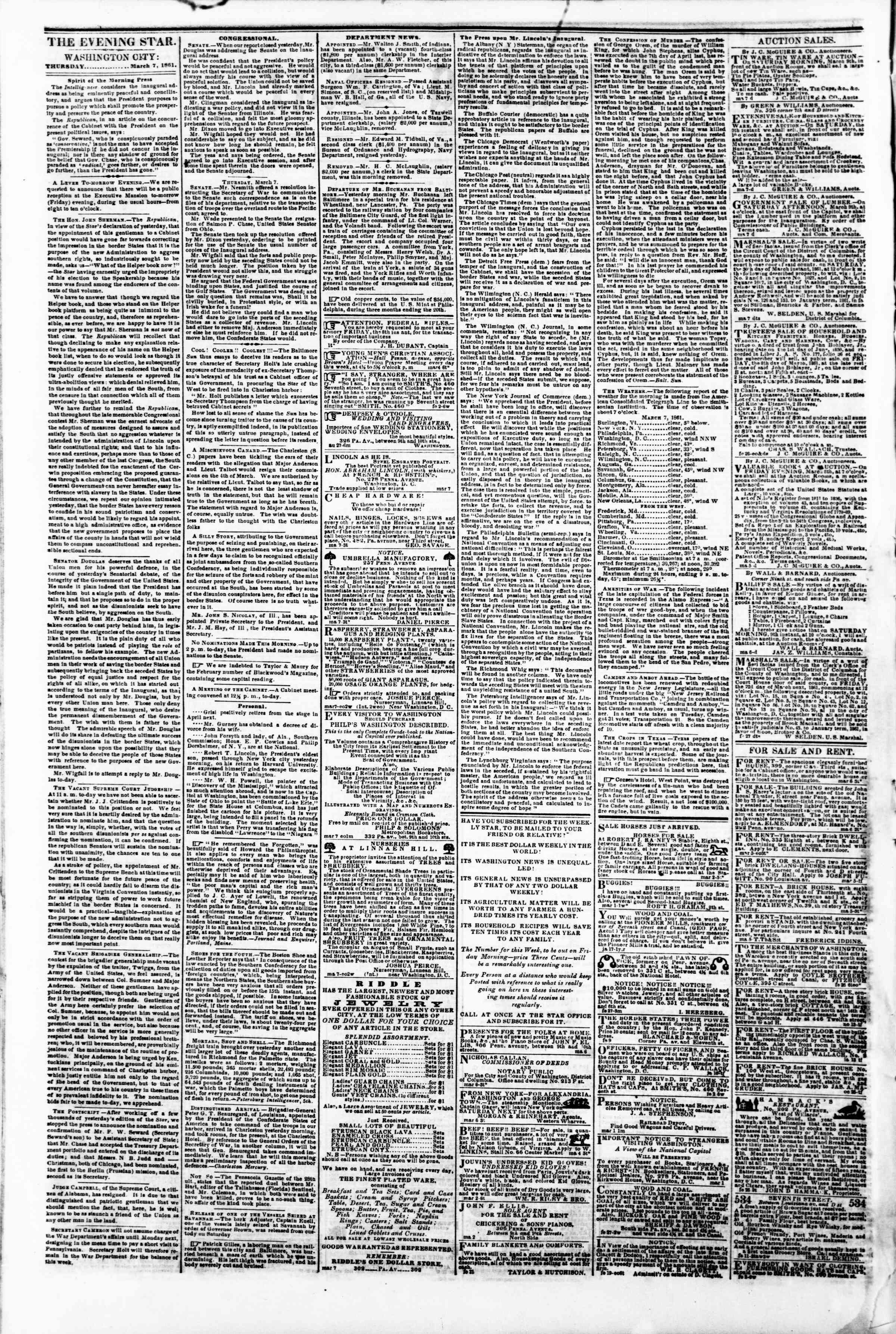Newspaper of Evening Star dated March 7, 1861 Page 2