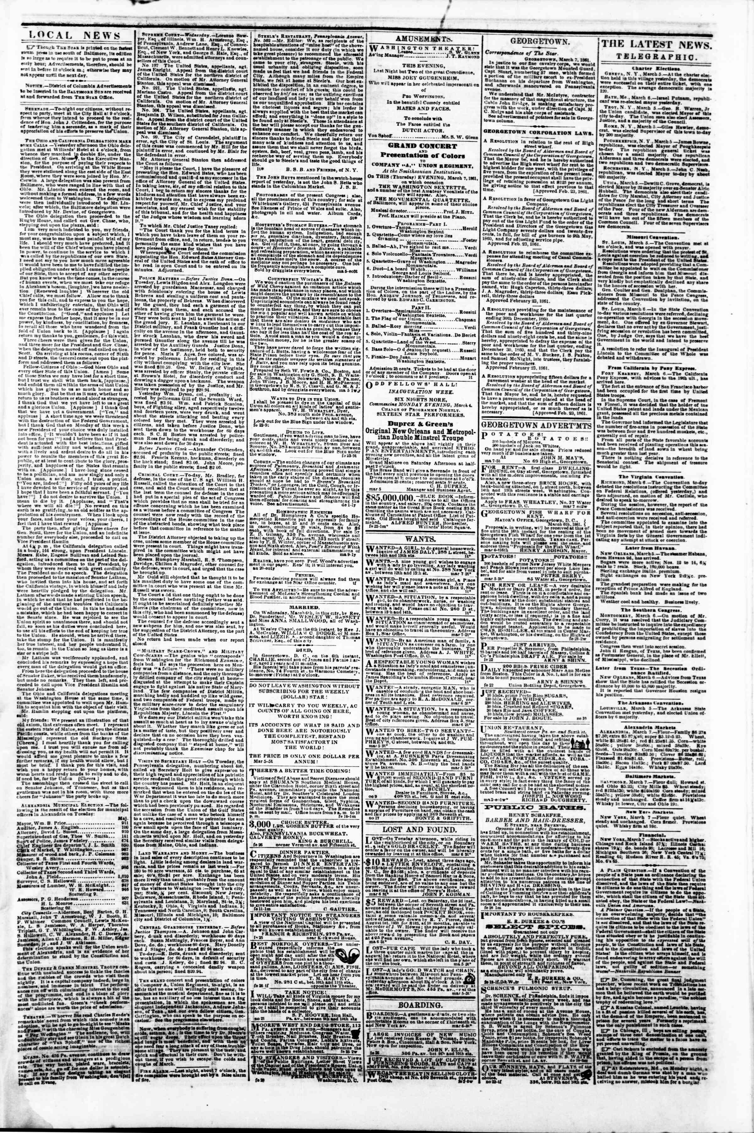 Newspaper of Evening Star dated March 7, 1861 Page 3