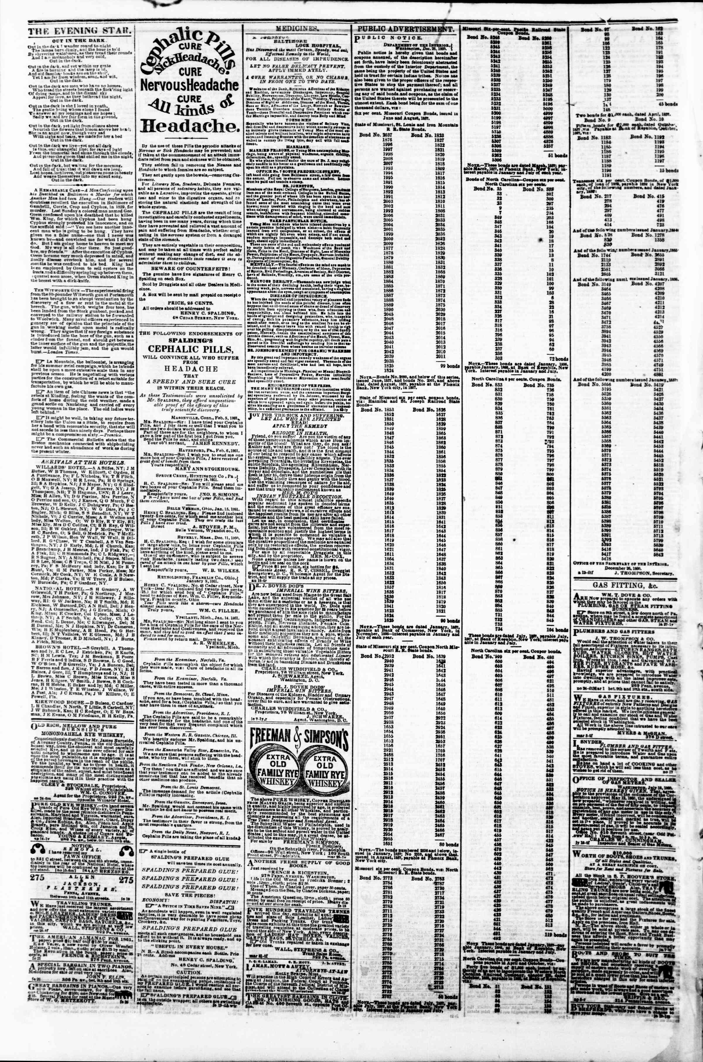 Newspaper of Evening Star dated March 7, 1861 Page 4