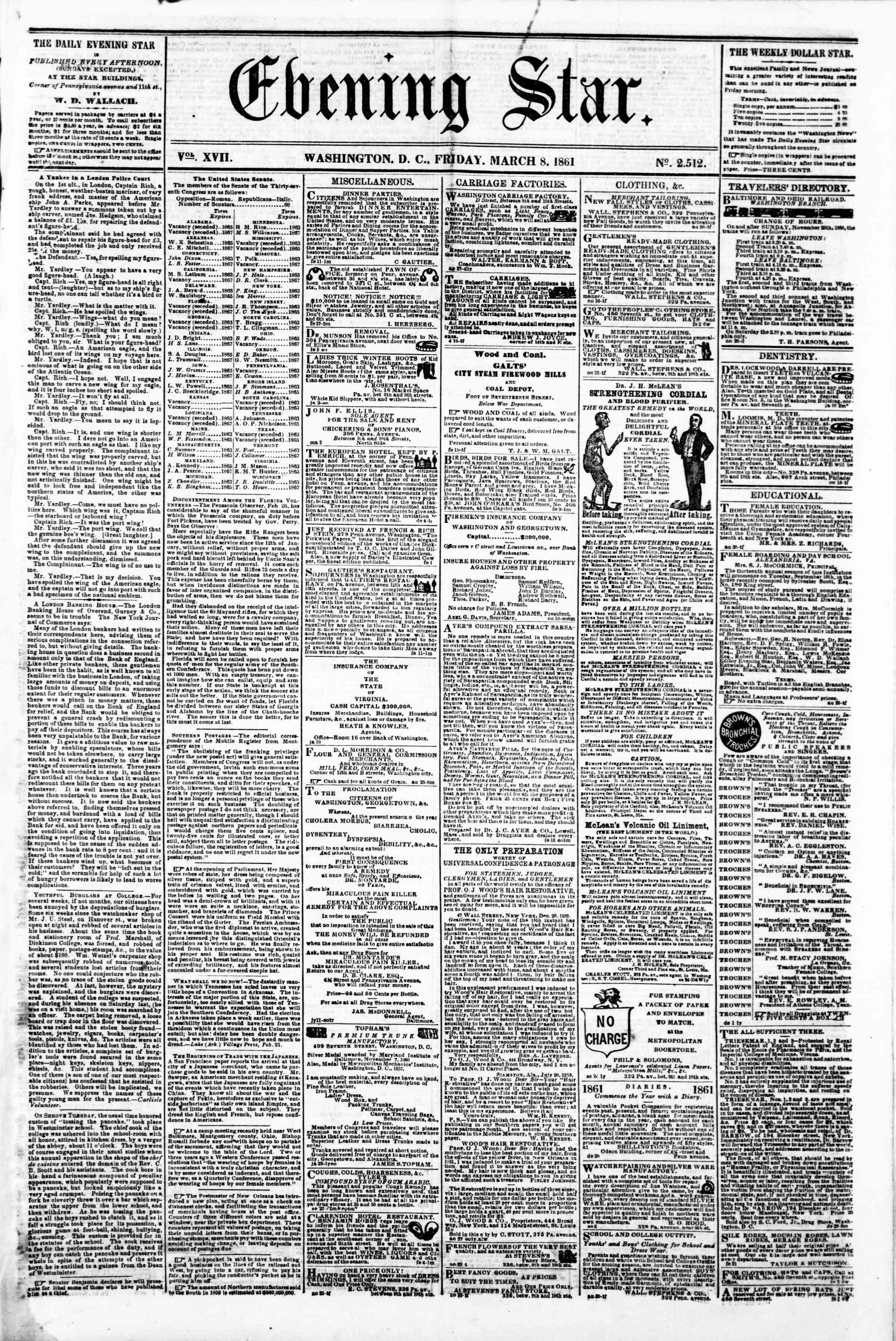 Newspaper of Evening Star dated March 8, 1861 Page 1