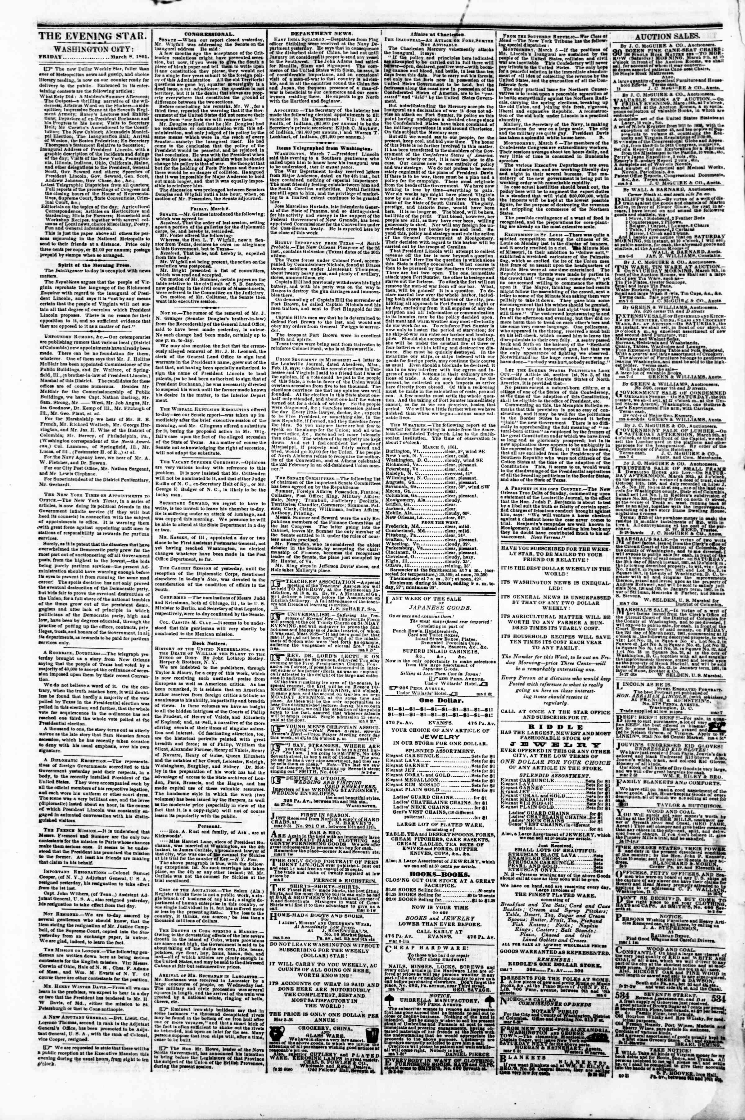 Newspaper of Evening Star dated March 8, 1861 Page 2