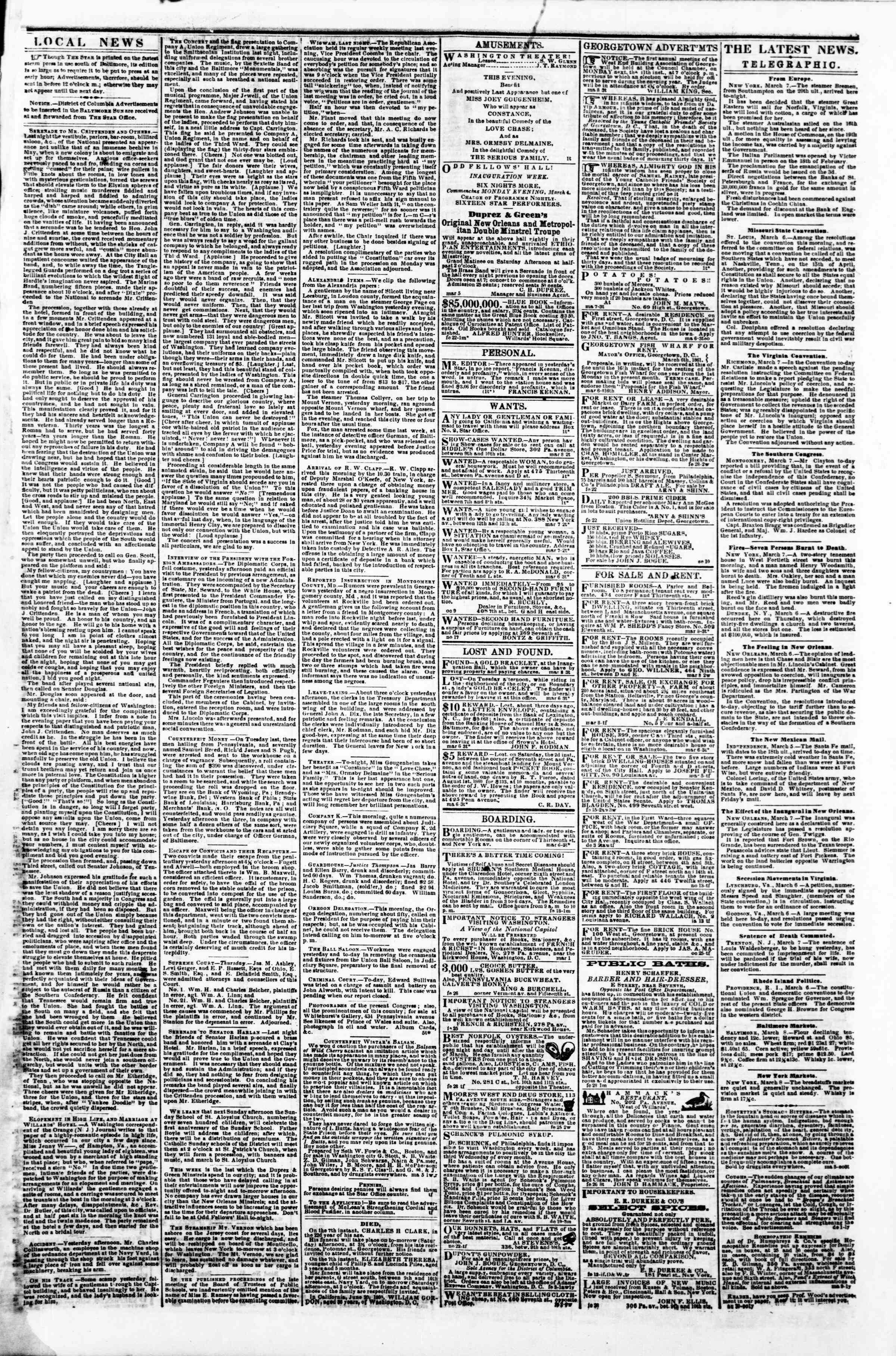 Newspaper of Evening Star dated March 8, 1861 Page 3