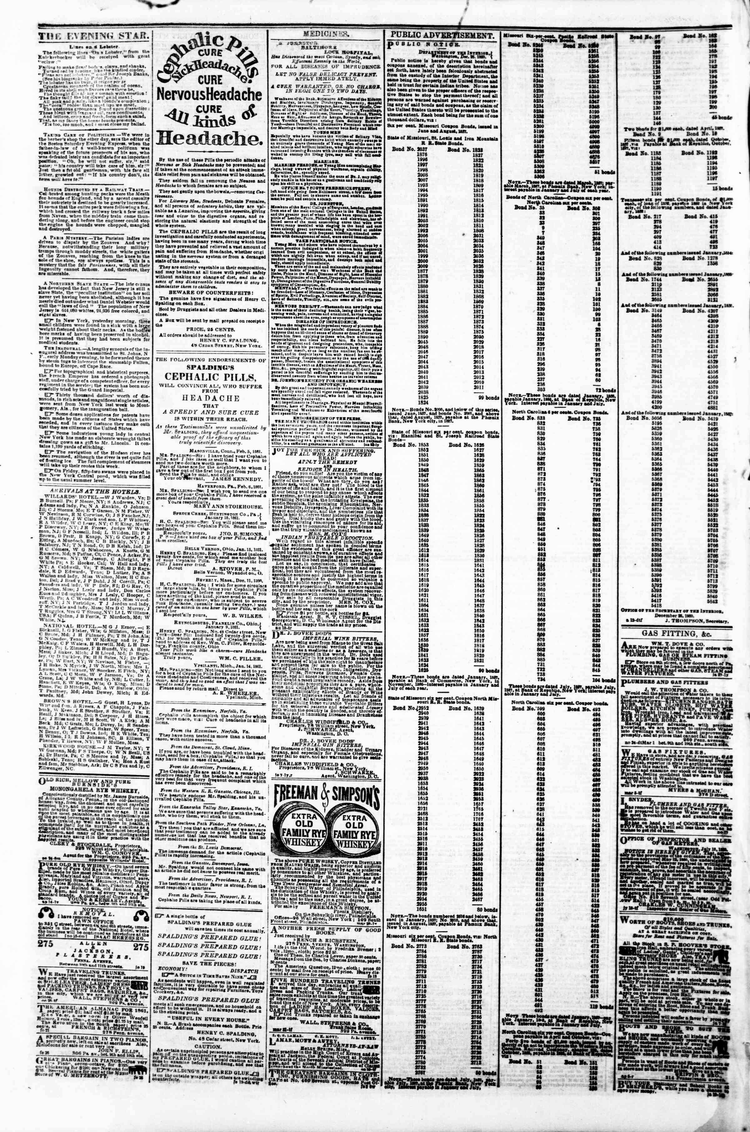 Newspaper of Evening Star dated March 8, 1861 Page 4