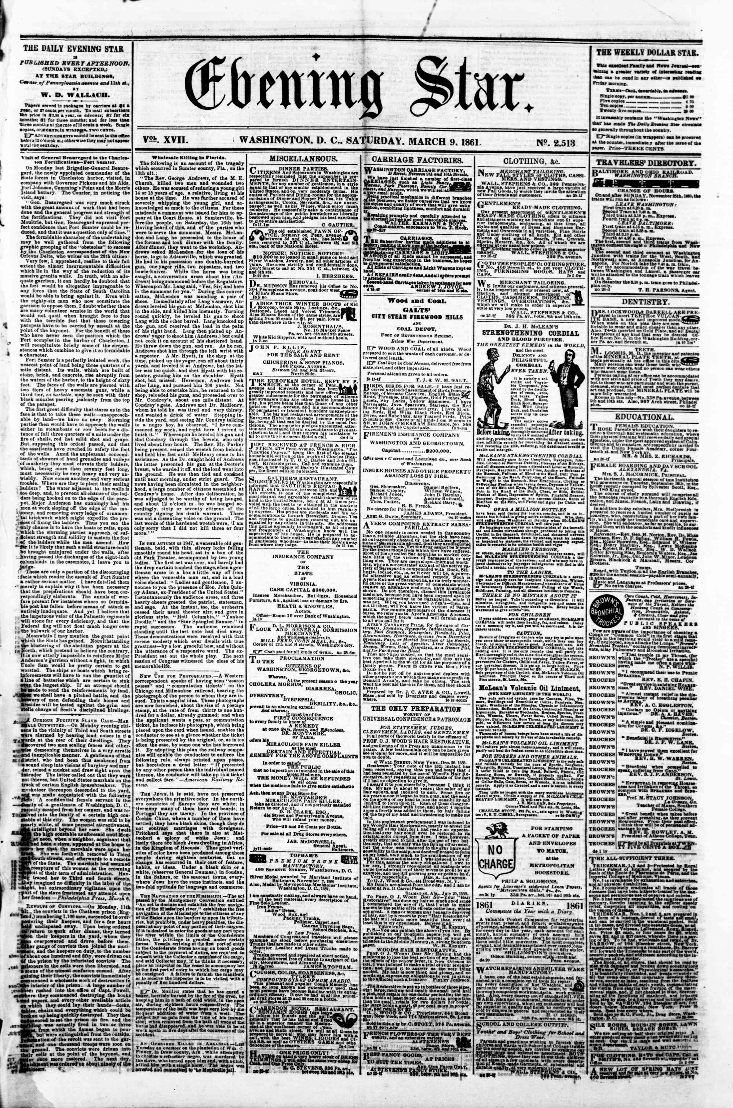 Newspaper of Evening Star dated March 9, 1861 Page 1