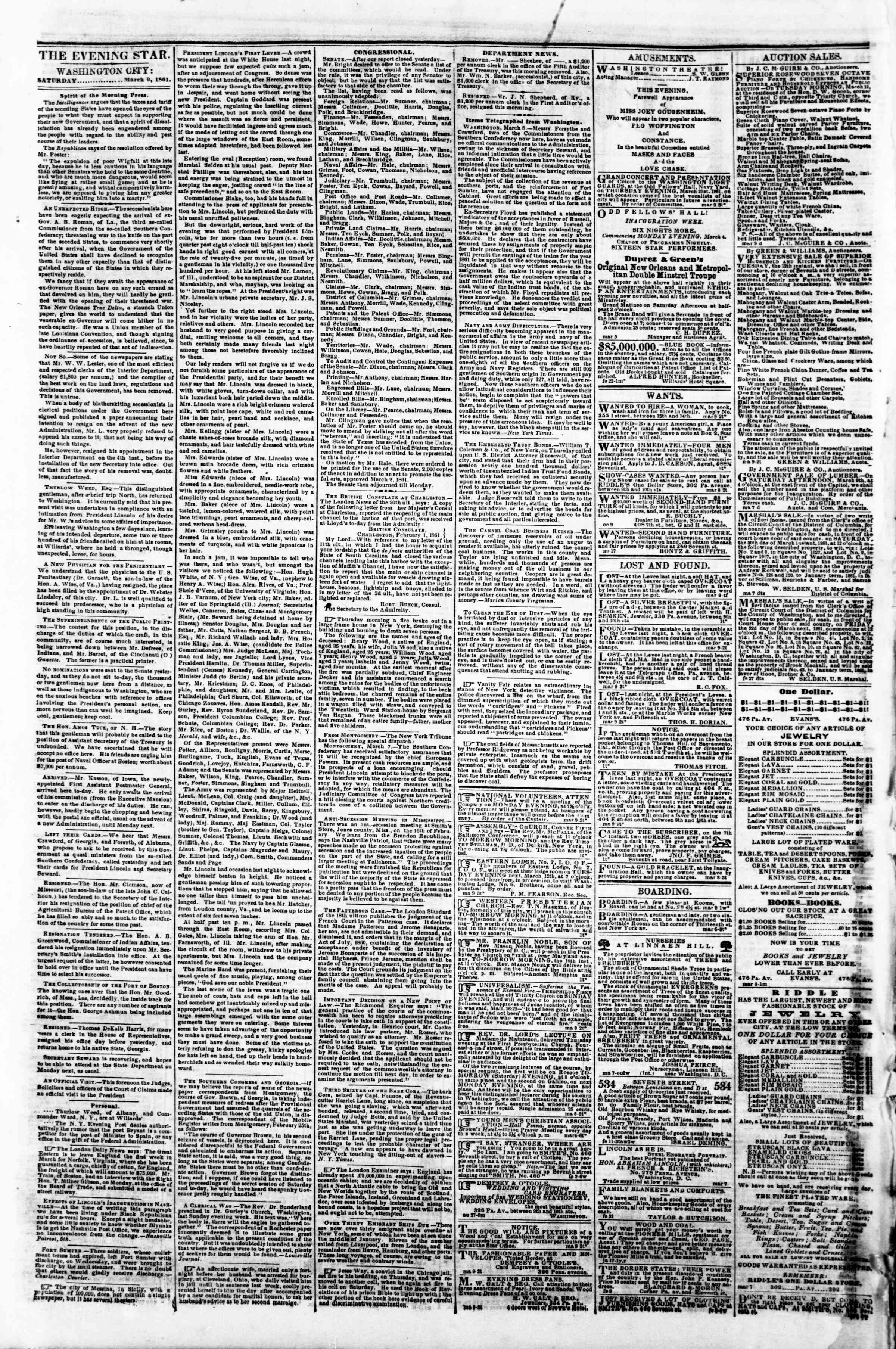 Newspaper of Evening Star dated March 9, 1861 Page 2