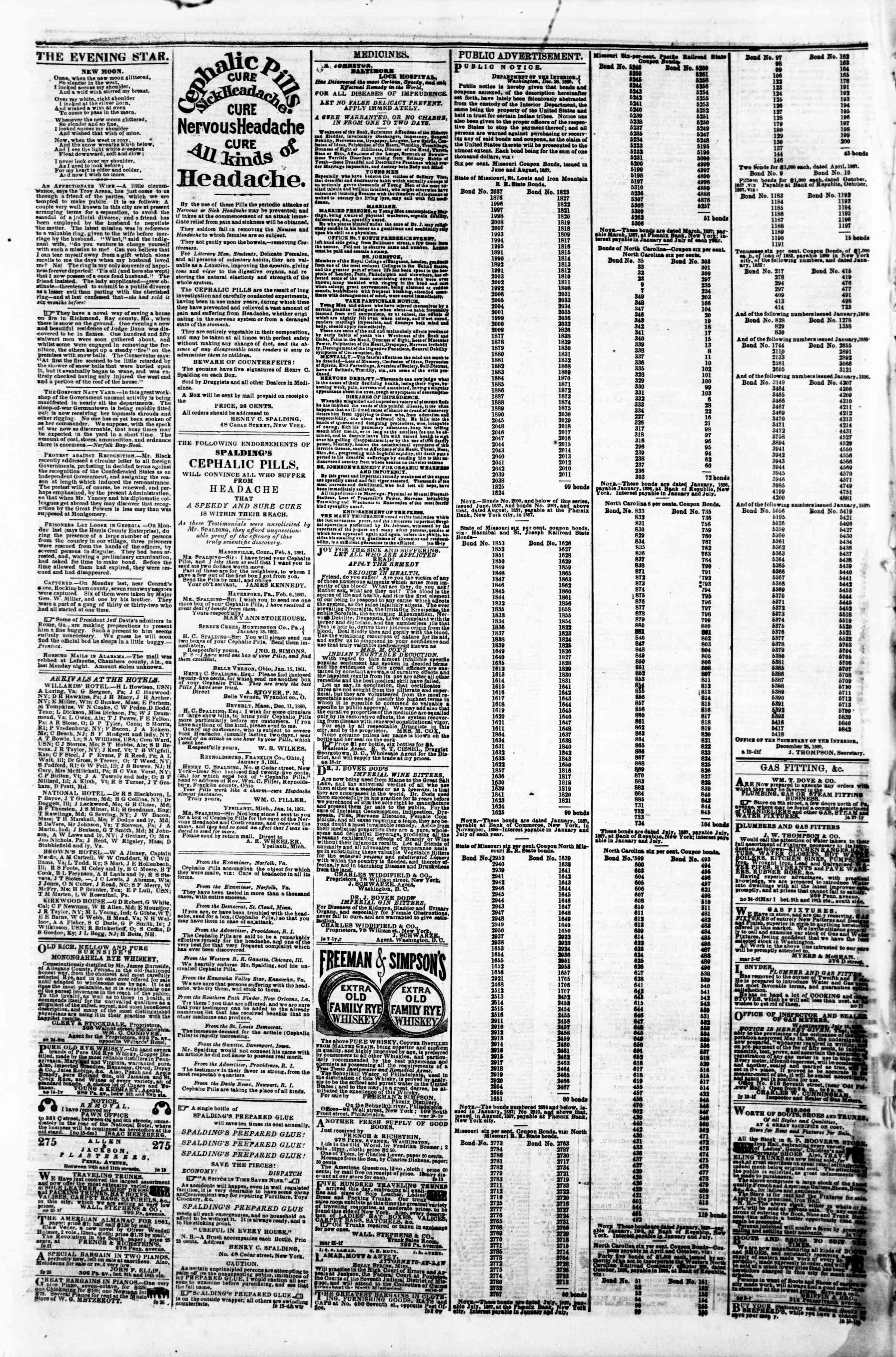 Newspaper of Evening Star dated March 9, 1861 Page 4