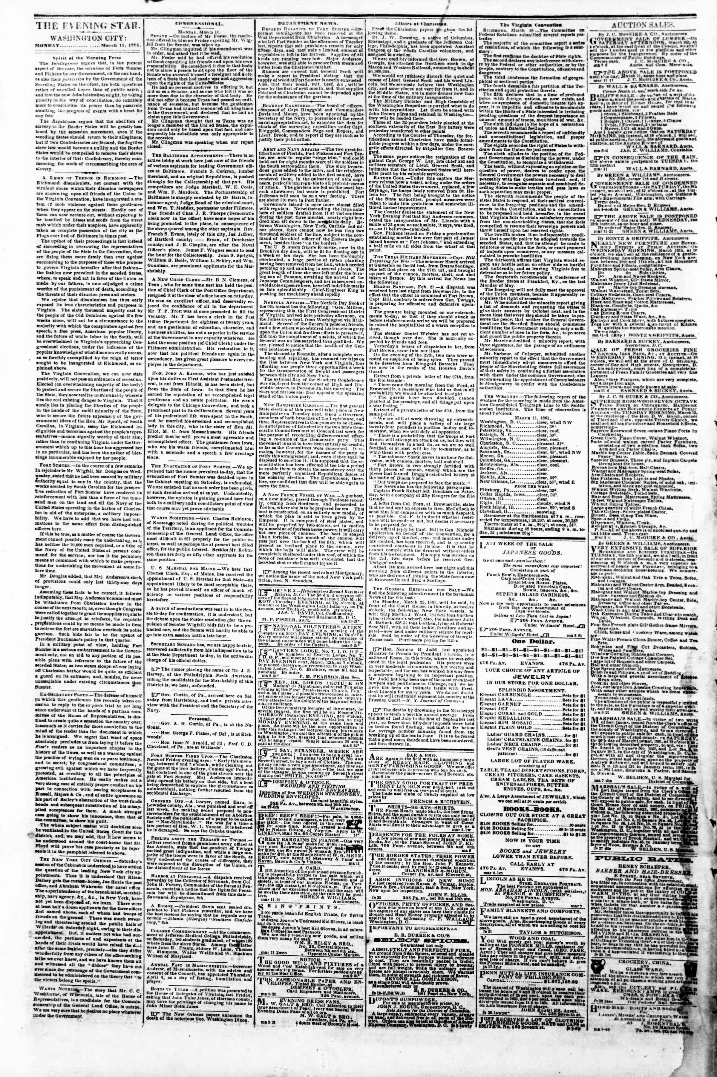 Newspaper of Evening Star dated March 11, 1861 Page 2