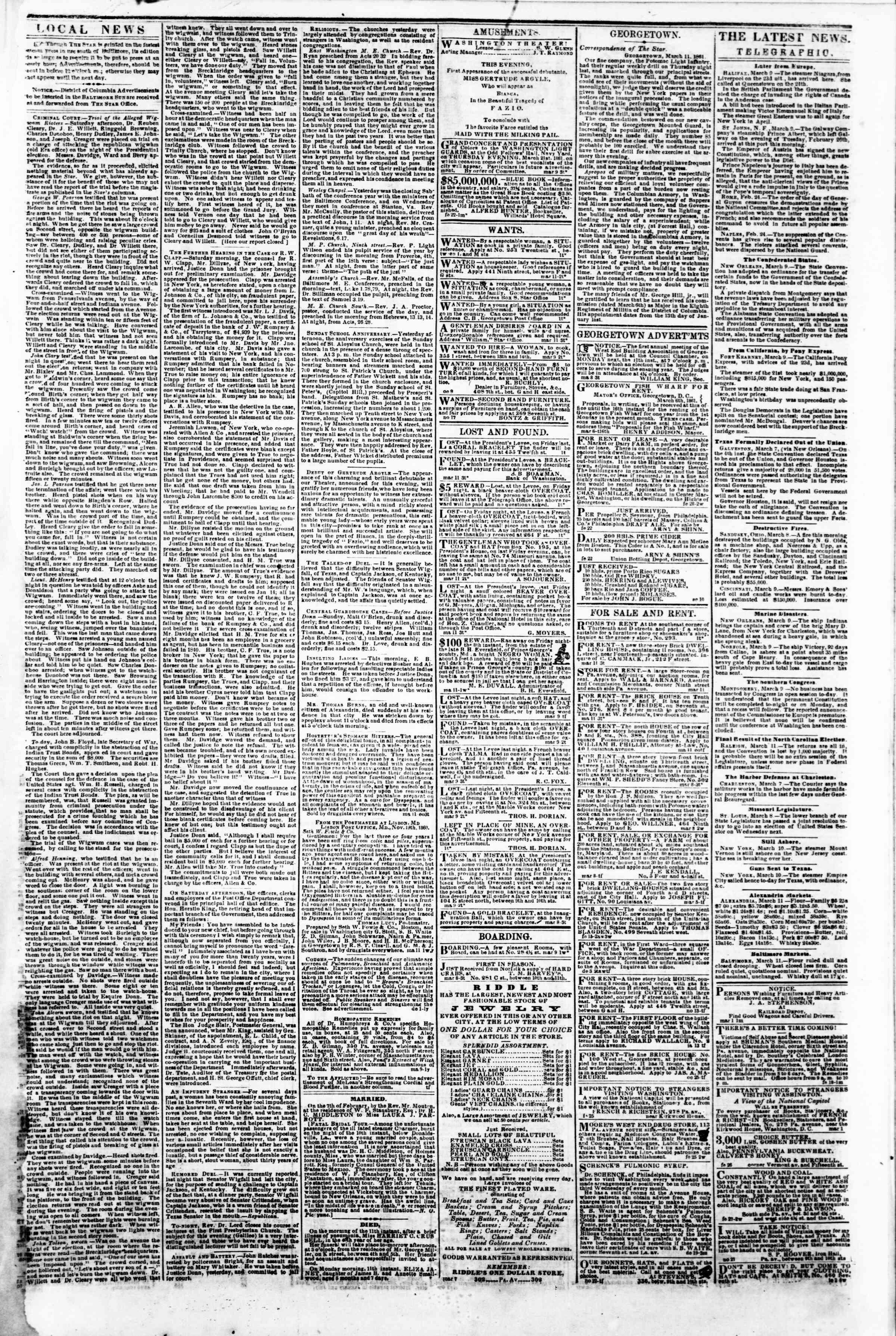 11 Mart 1861 tarihli Evening Star Gazetesi Sayfa 3