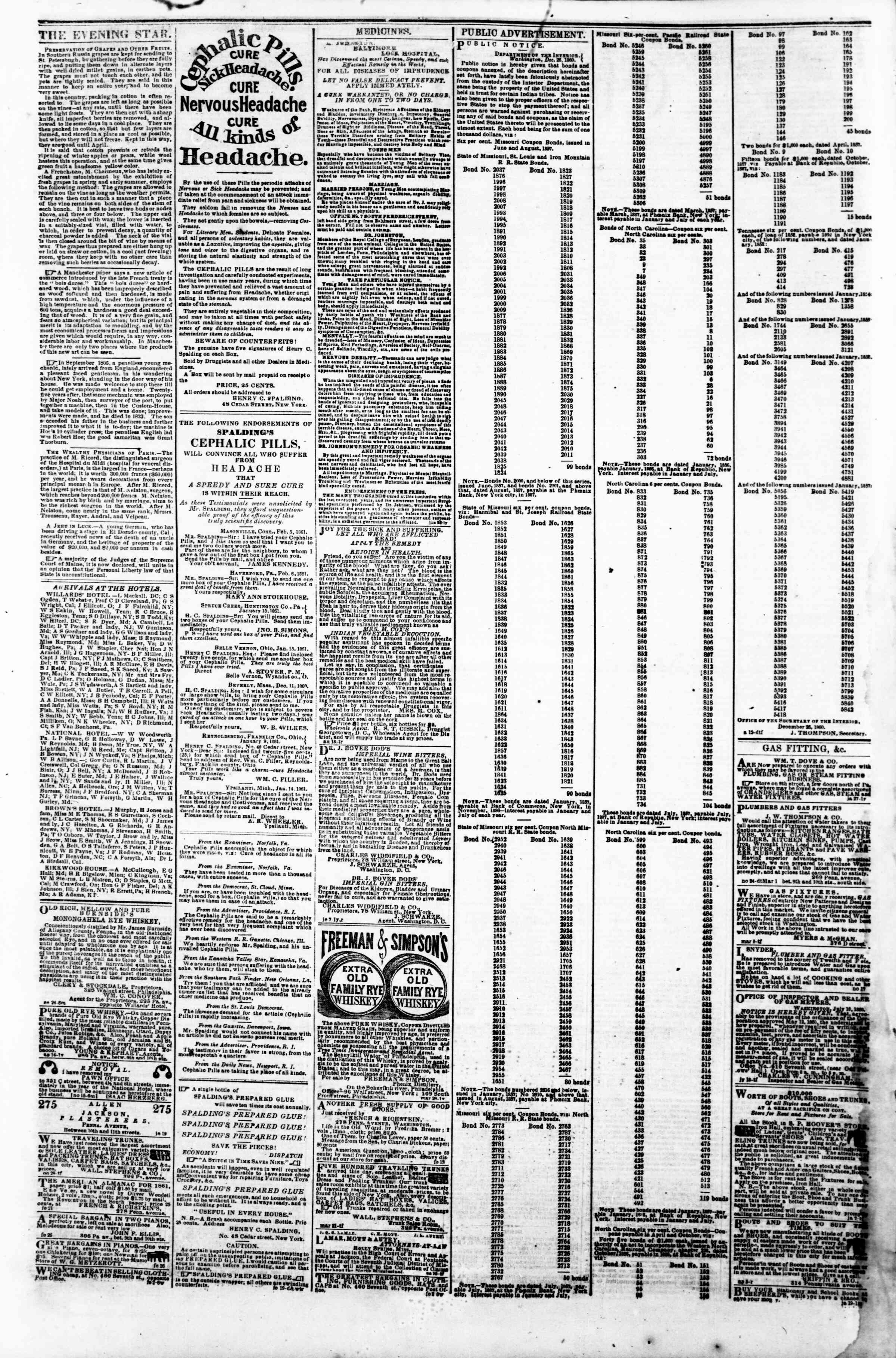 Newspaper of Evening Star dated March 11, 1861 Page 4