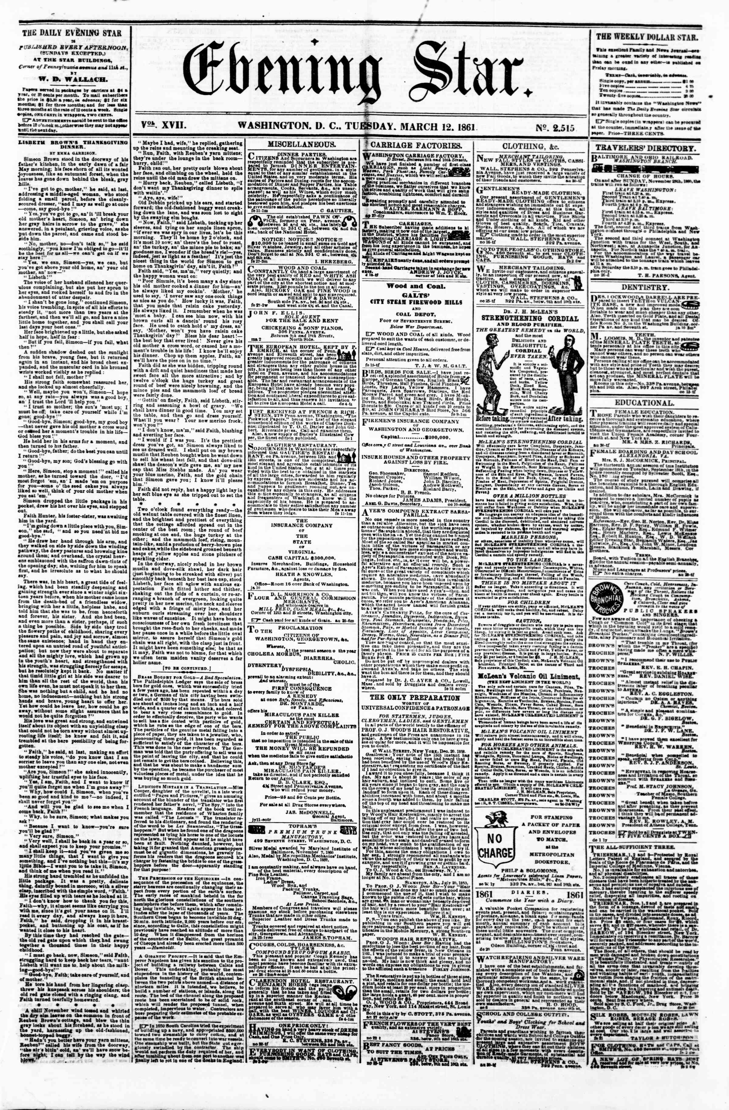 Newspaper of Evening Star dated March 12, 1861 Page 1