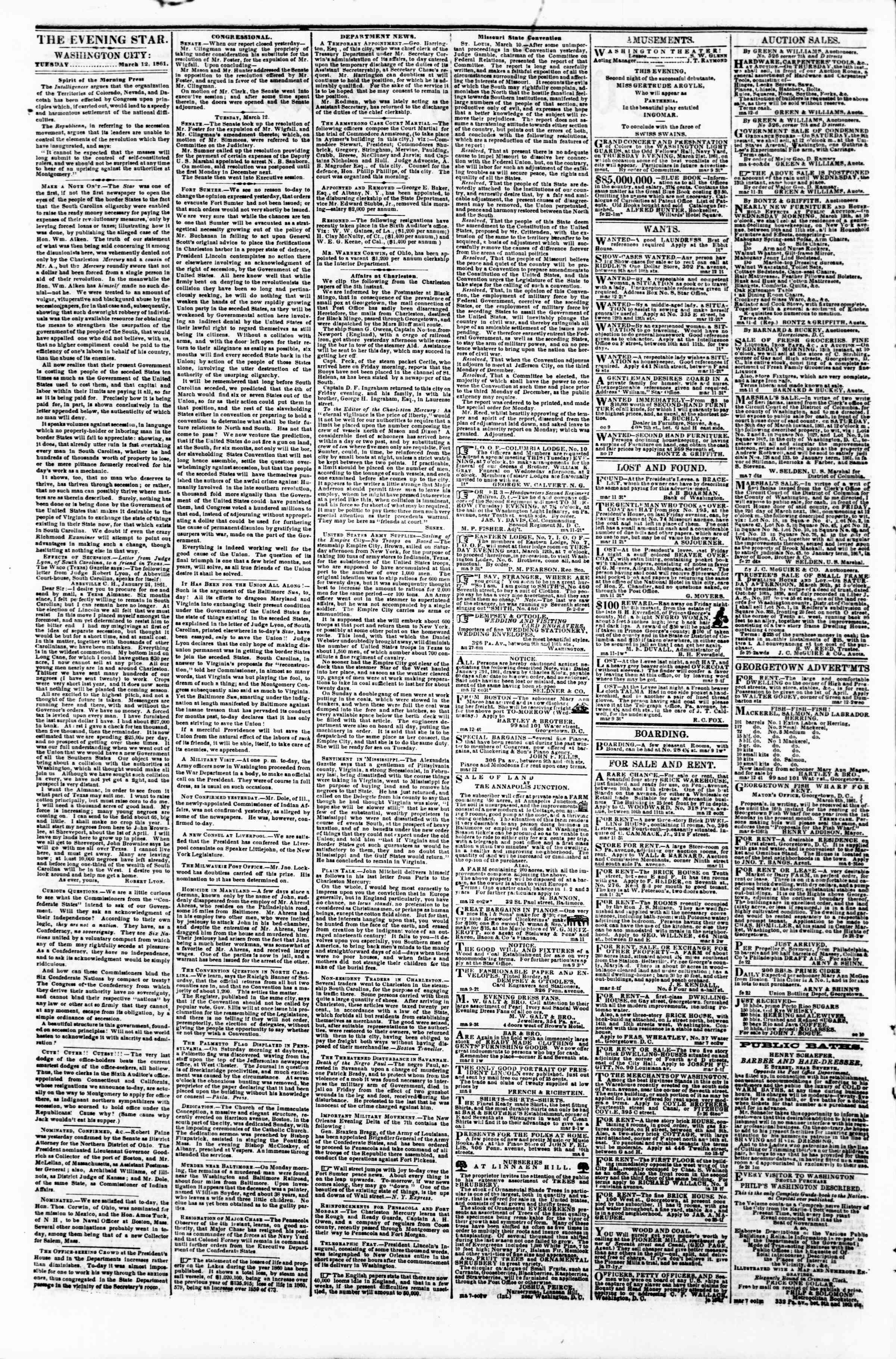 Newspaper of Evening Star dated March 12, 1861 Page 2
