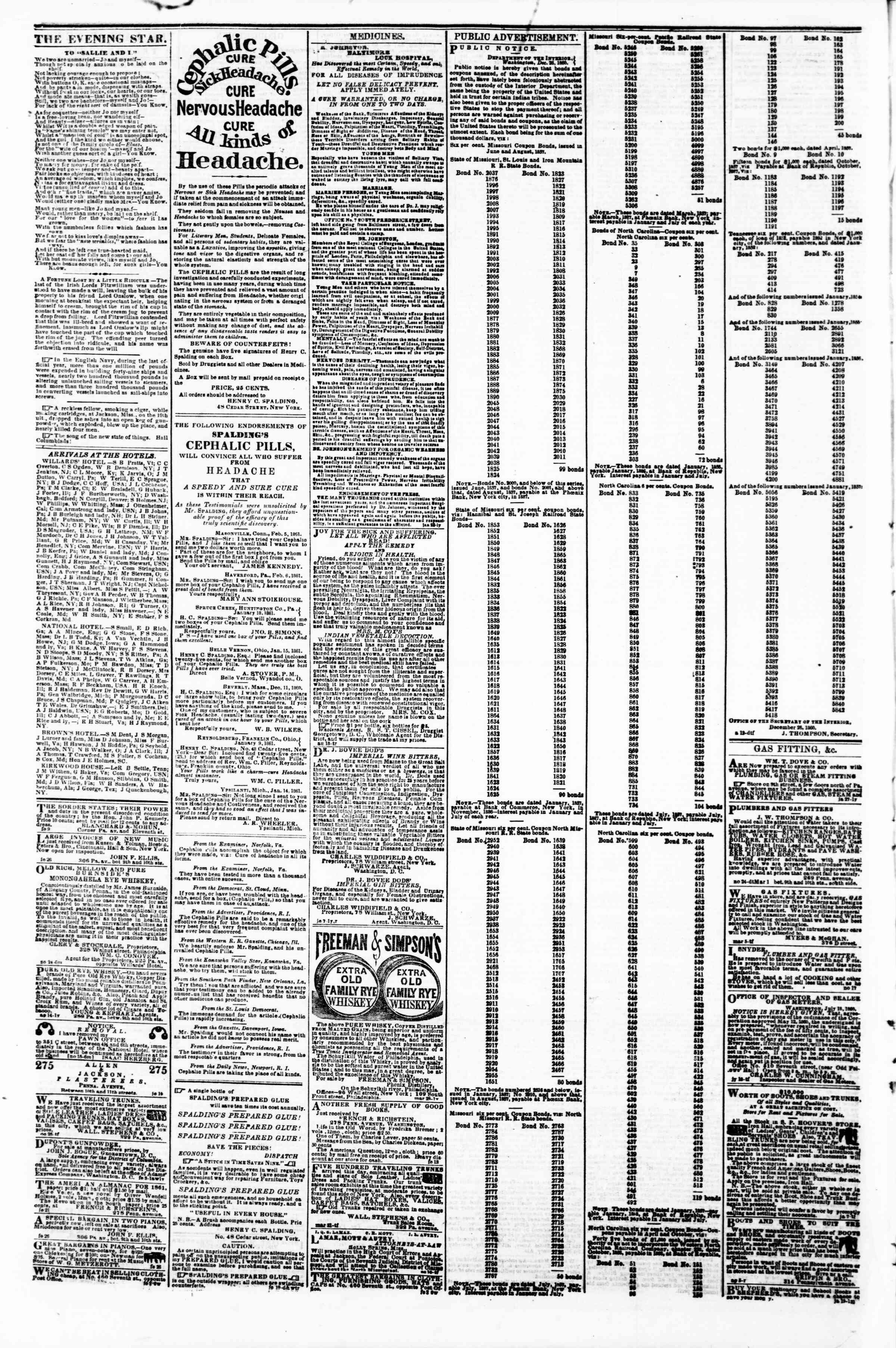 Newspaper of Evening Star dated March 12, 1861 Page 4