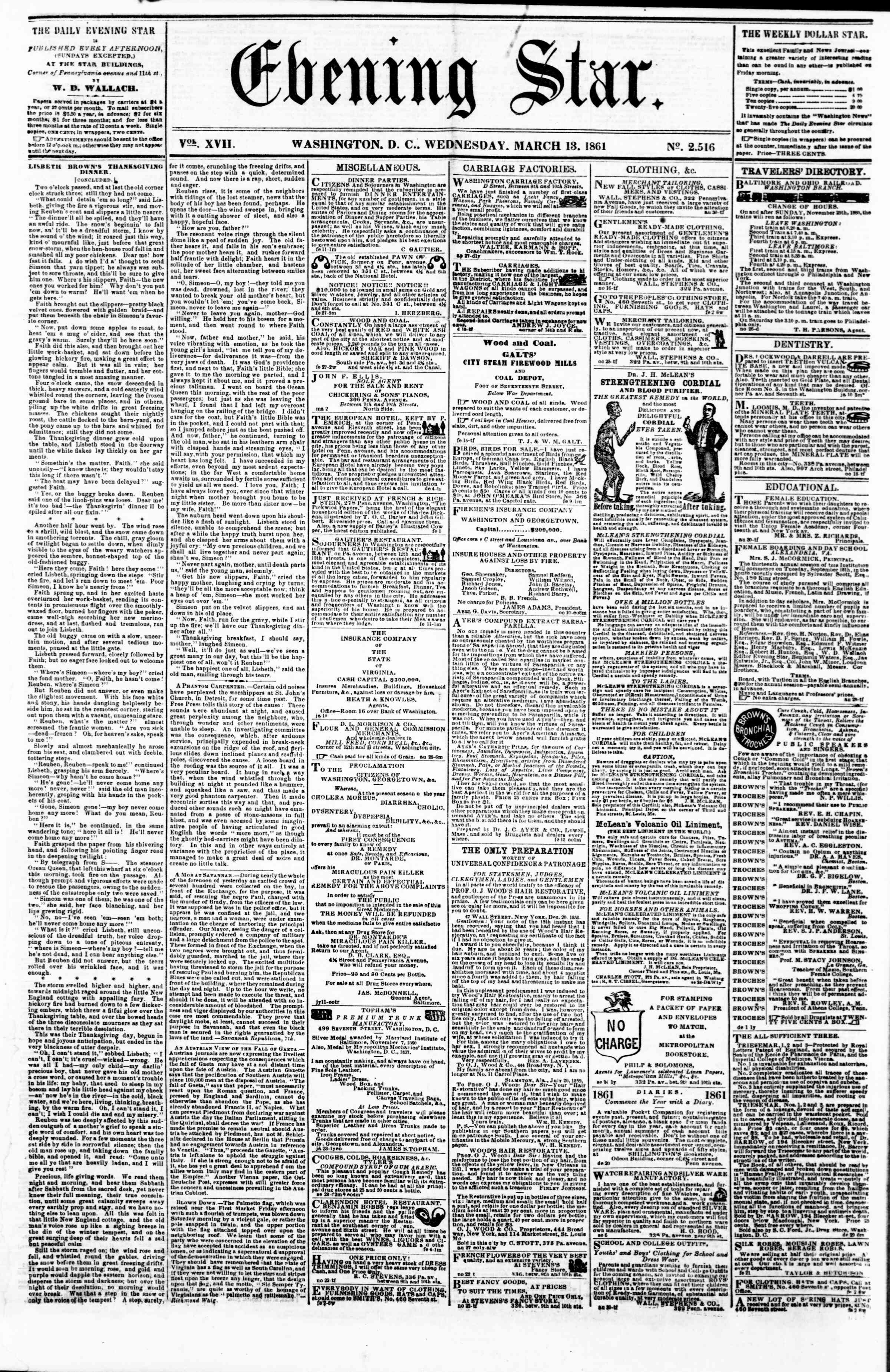 Newspaper of Evening Star dated March 13, 1861 Page 1