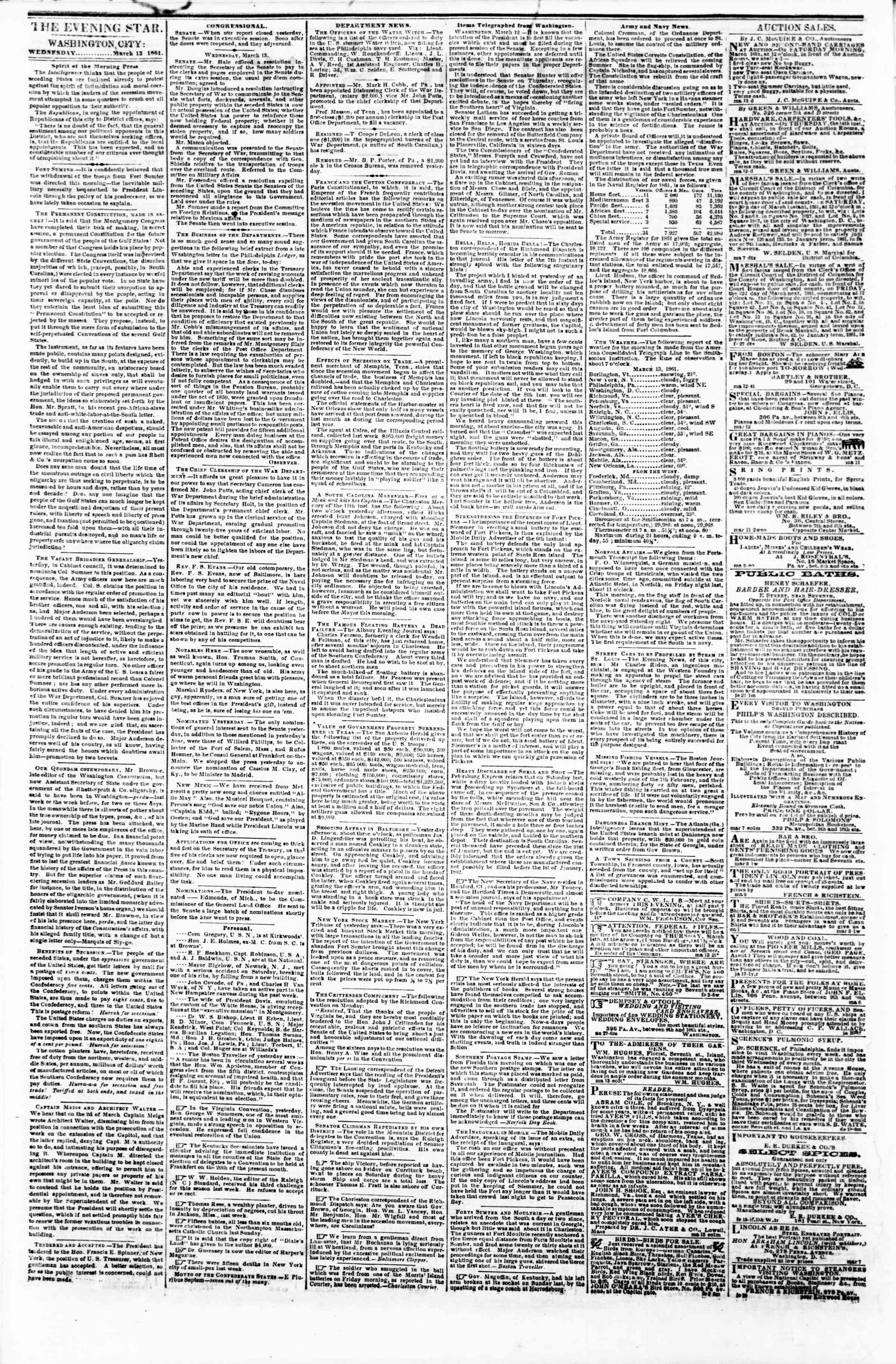 Newspaper of Evening Star dated March 13, 1861 Page 2