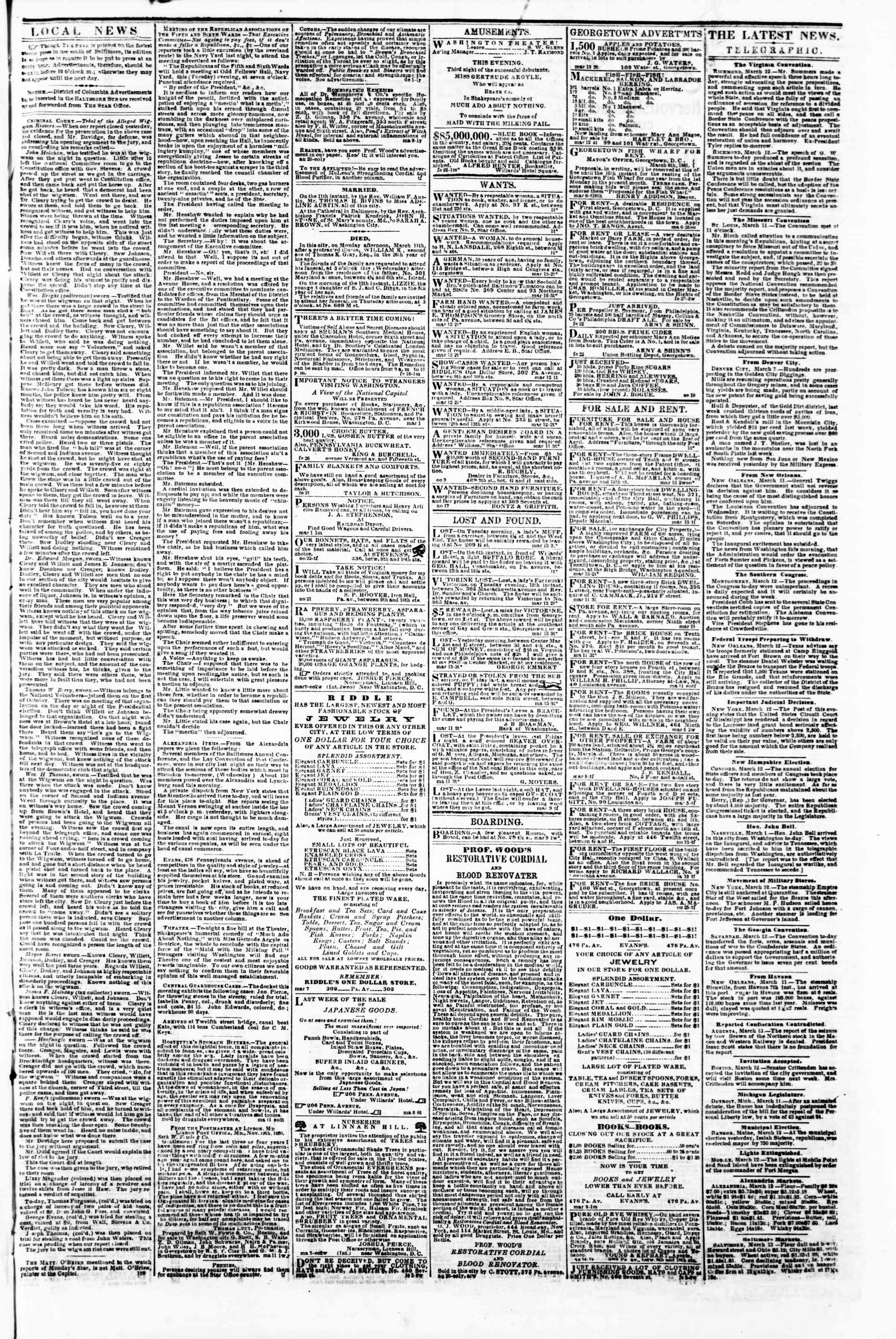 Newspaper of Evening Star dated March 13, 1861 Page 3