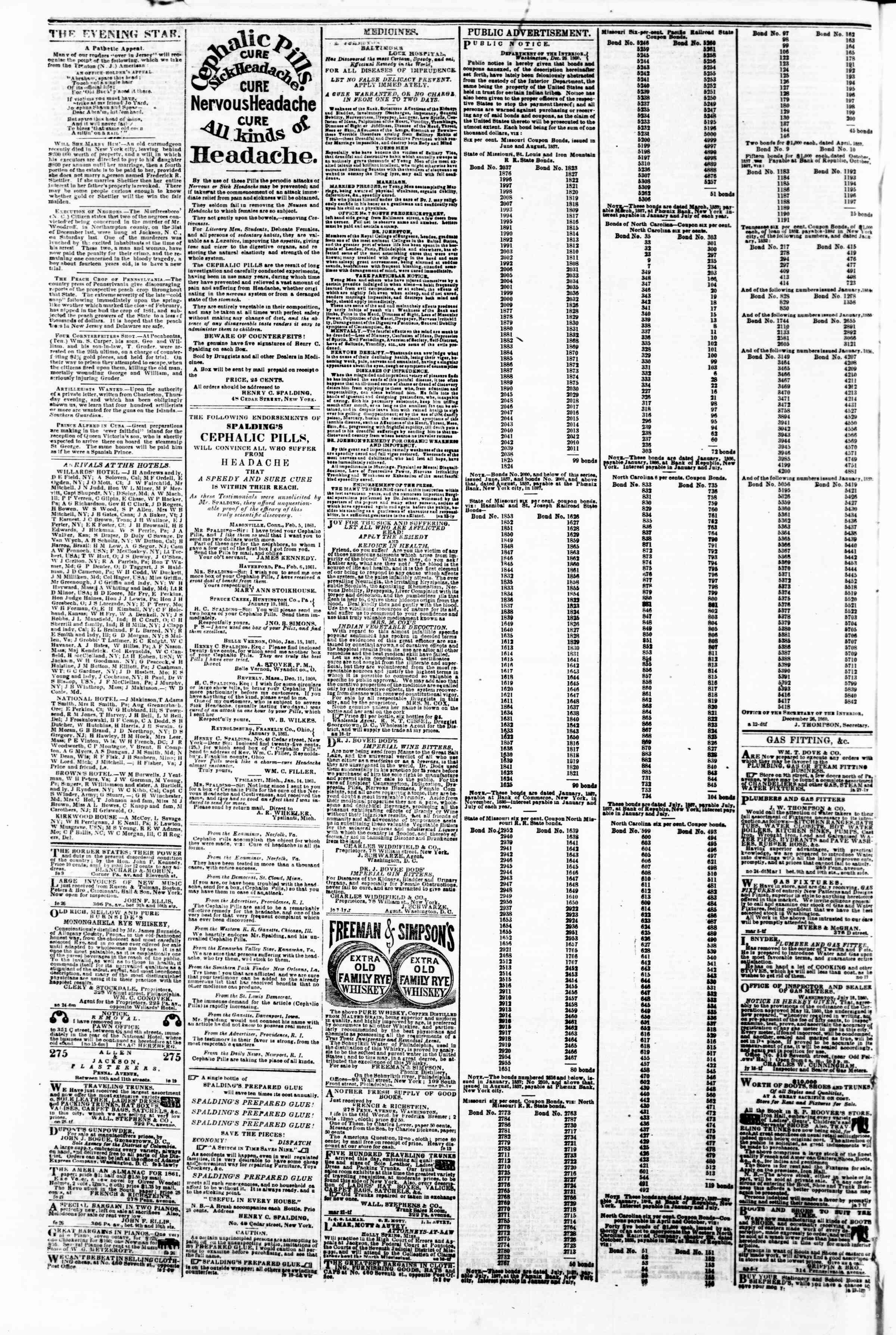 Newspaper of Evening Star dated March 13, 1861 Page 4