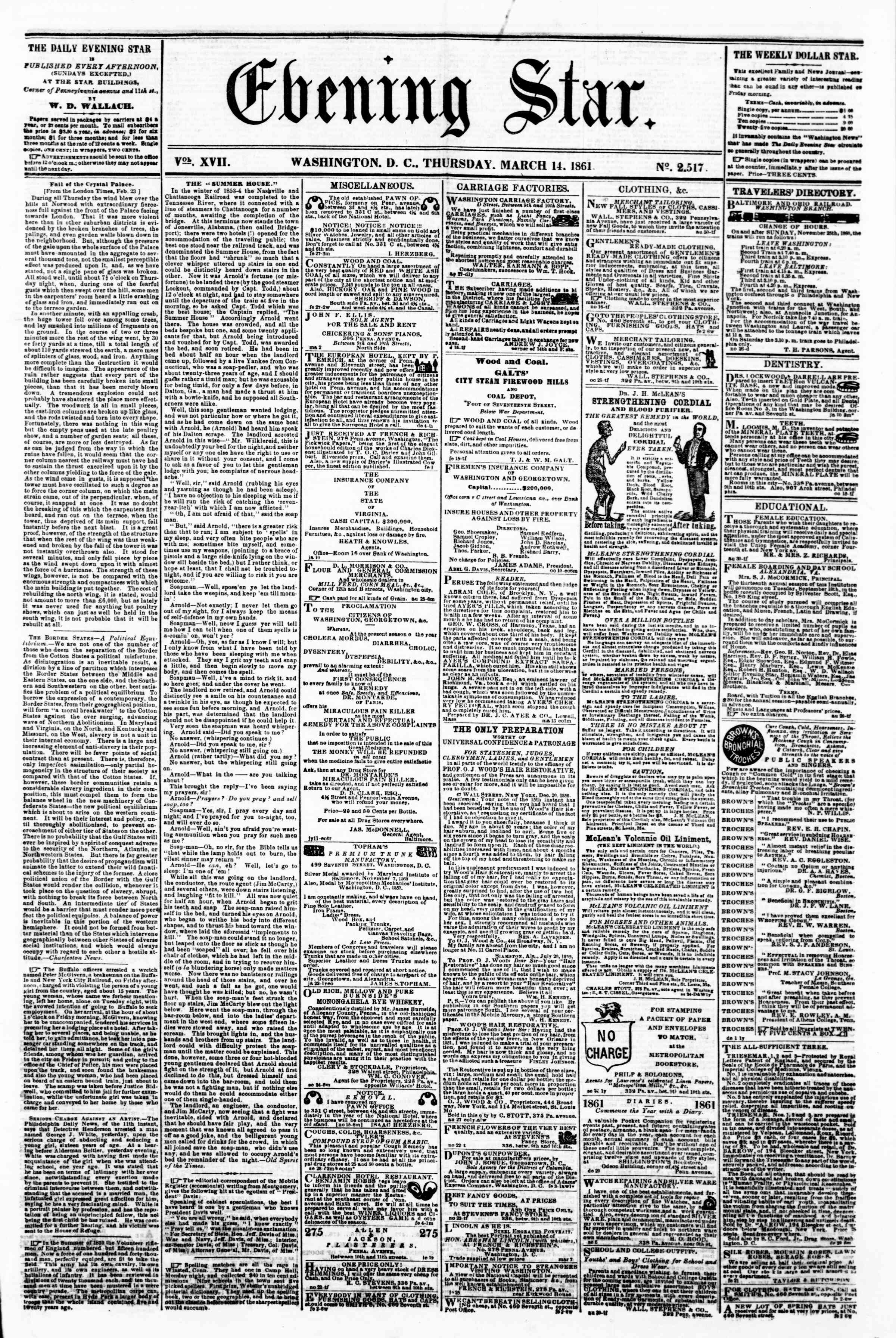 Newspaper of Evening Star dated March 14, 1861 Page 1
