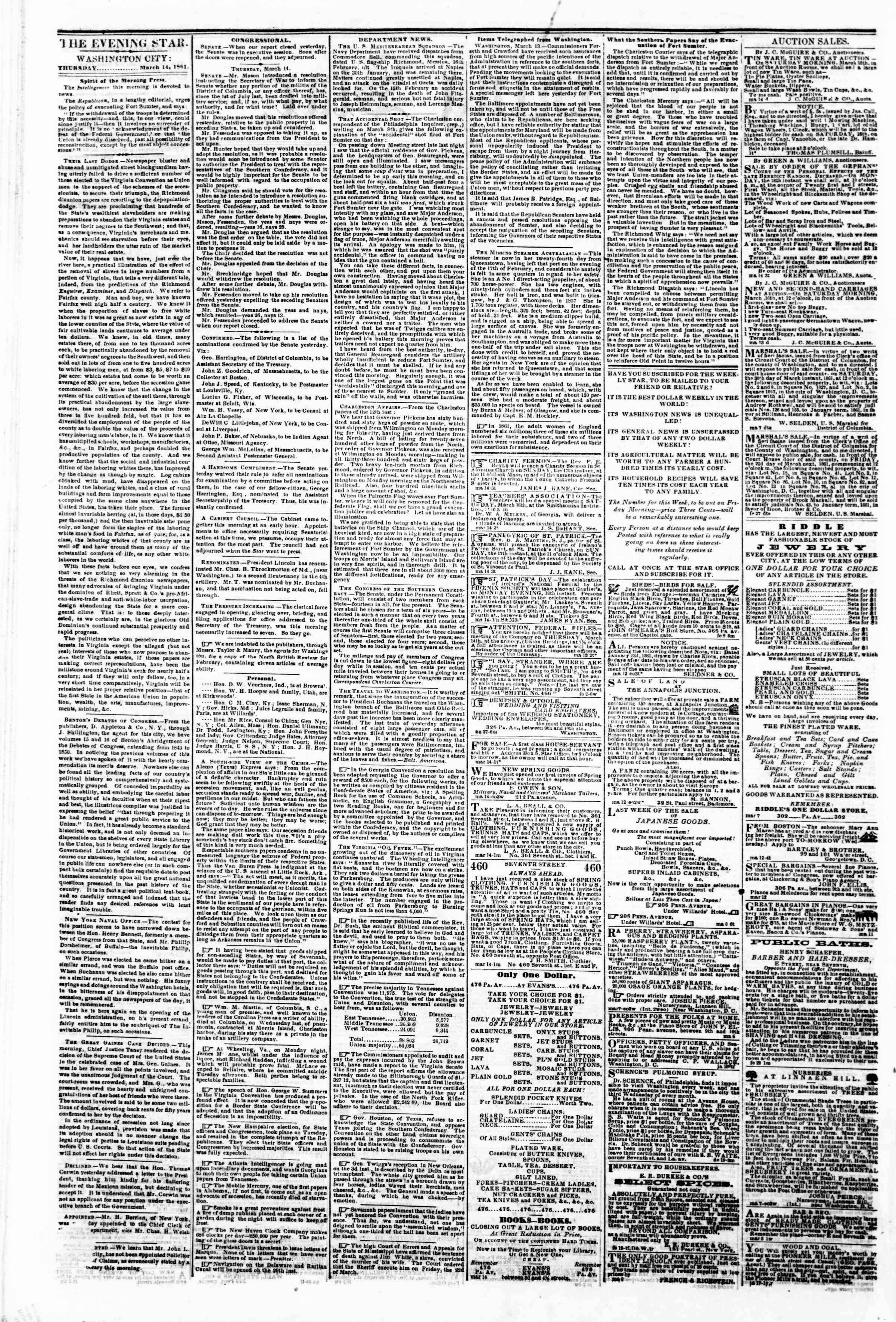 Newspaper of Evening Star dated March 14, 1861 Page 2